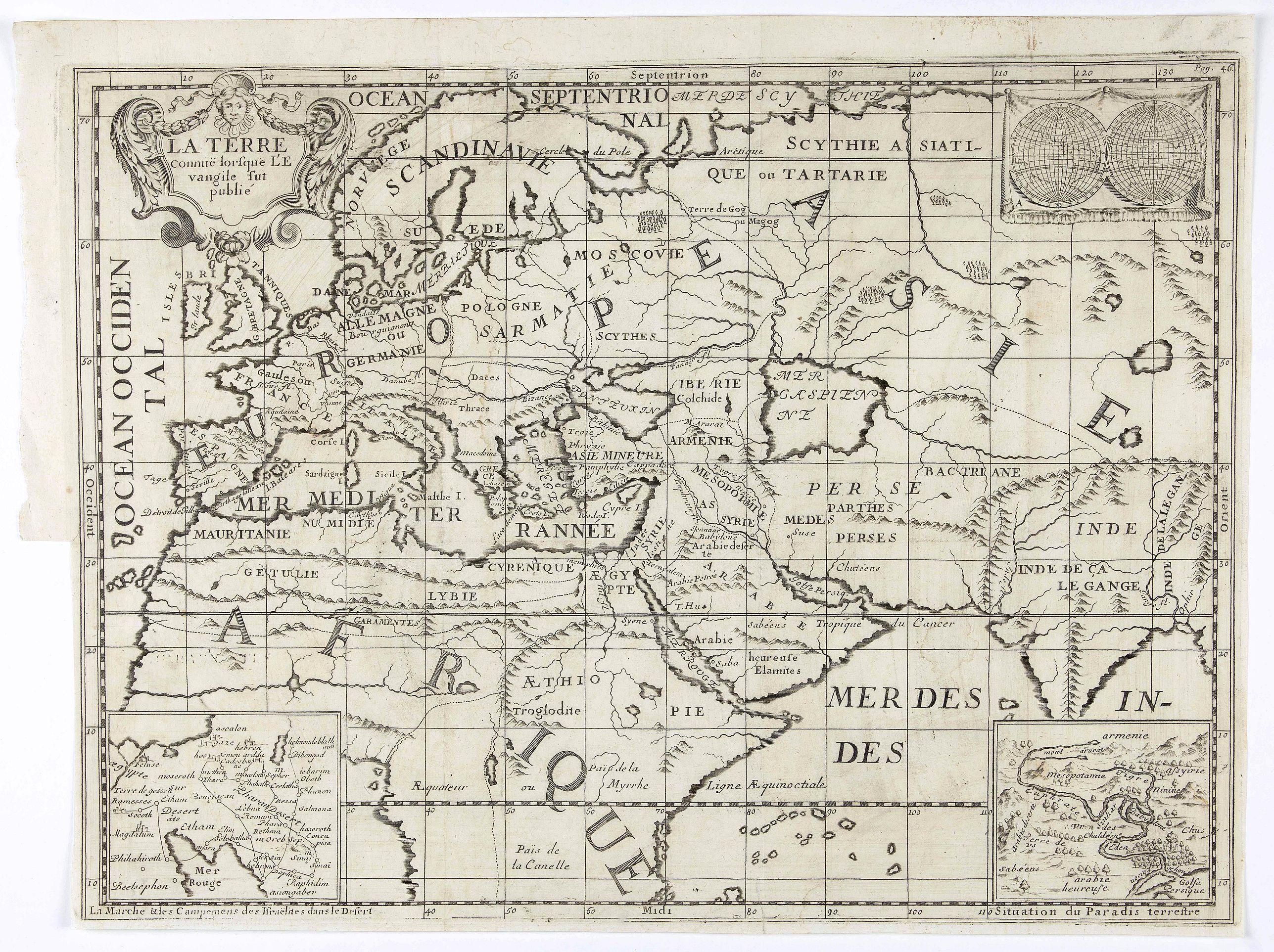 VITRE, A. - La Terre connuë lorsque L'Evangile fut publié.