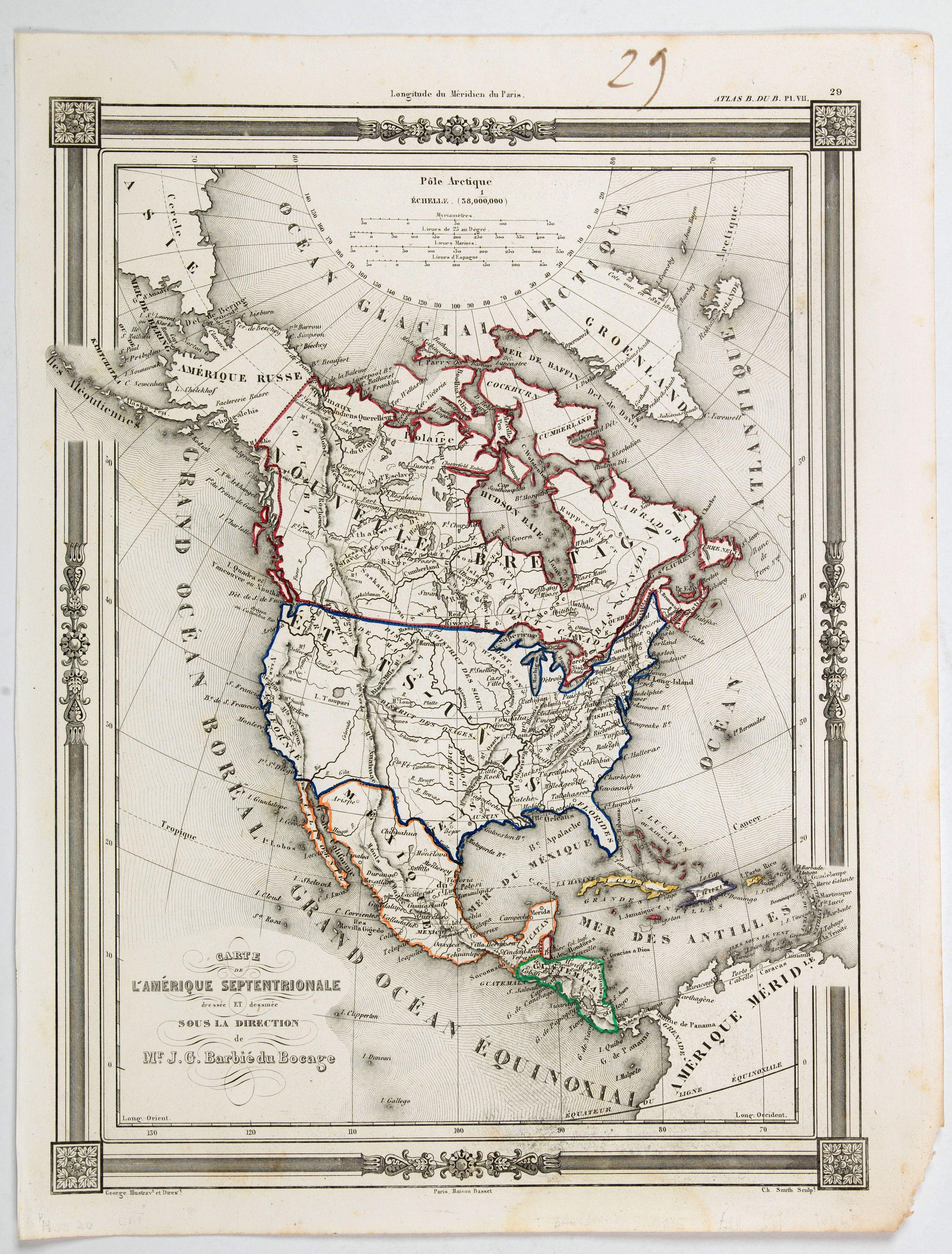 BARBIE du BOCAGE, J.G. - Carte de L'Amerique Septentrionale dresee et dessinee