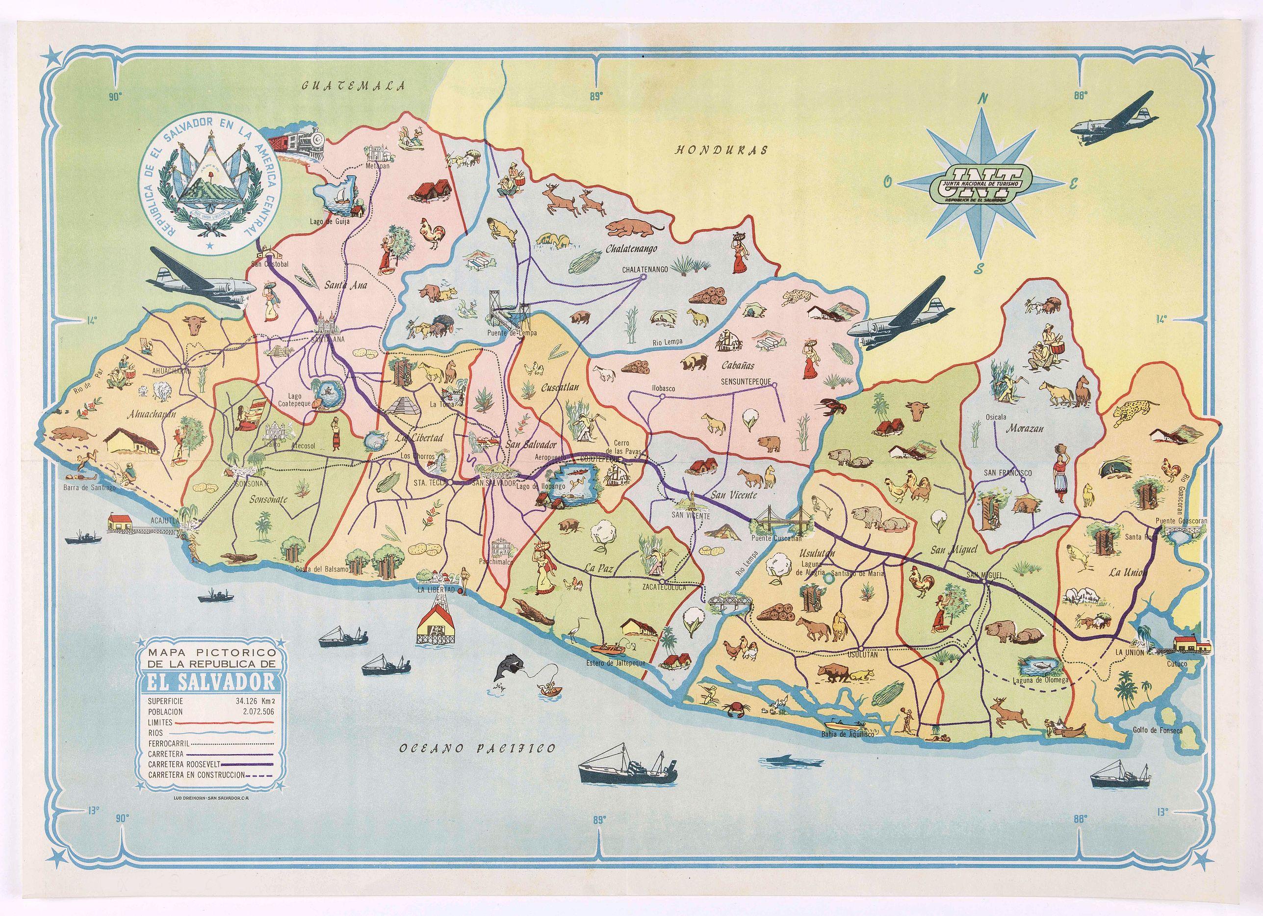 LUD DREIKORN - Mapa pictorico de la Republica de El Salvador.