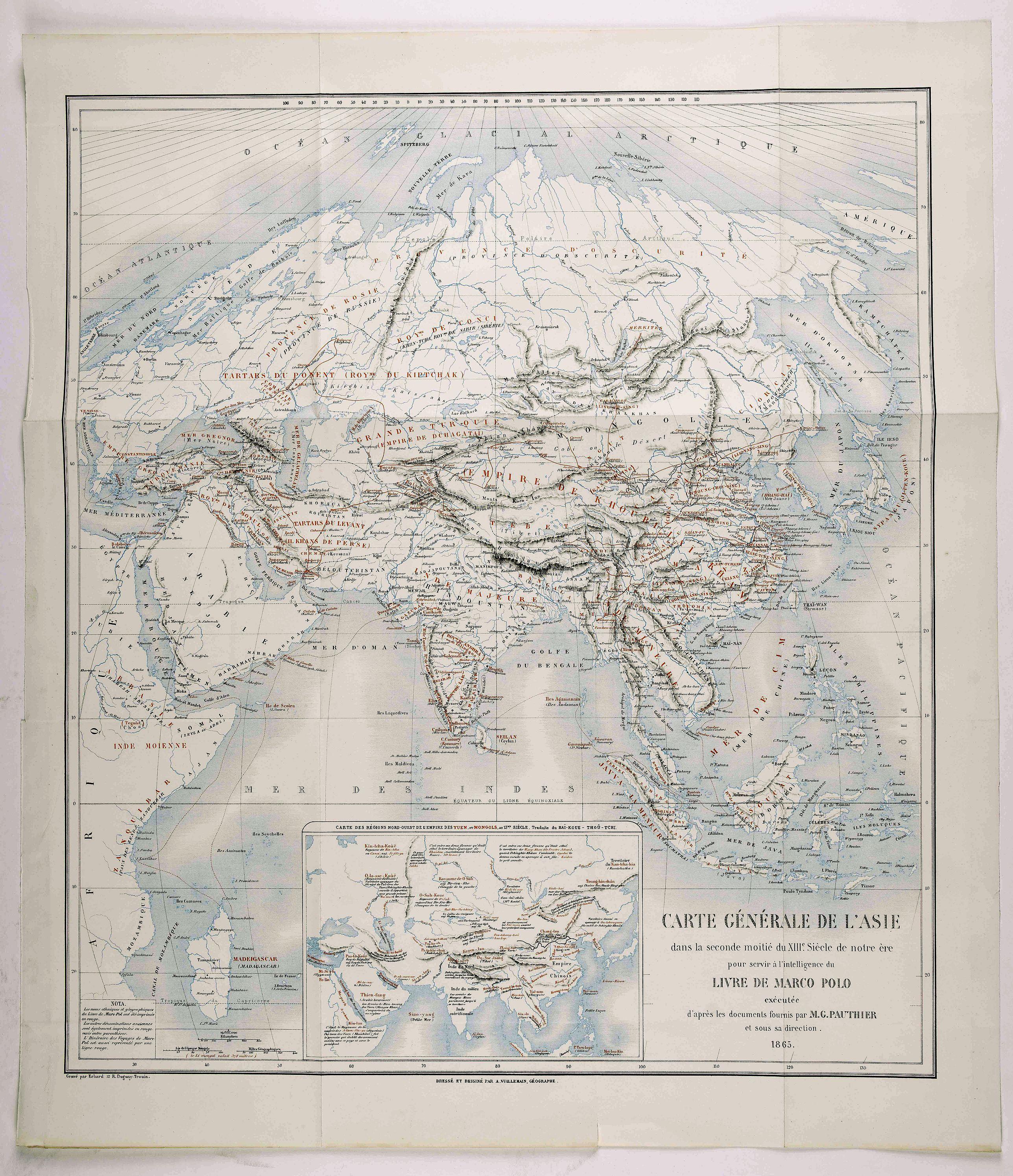 VUILLEMAIN, A. - Carte générale de l'Asie dans la seconde moitié du XIIIe siècle... pour... l'intelligence du livre de Marco Polo / exécutée d'après les documents fournis par M. G. Pauthier , Dressé... par A. Vuillemain.