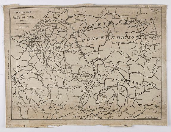 THE TIMES. - Sketch map of the seat of war 1870.