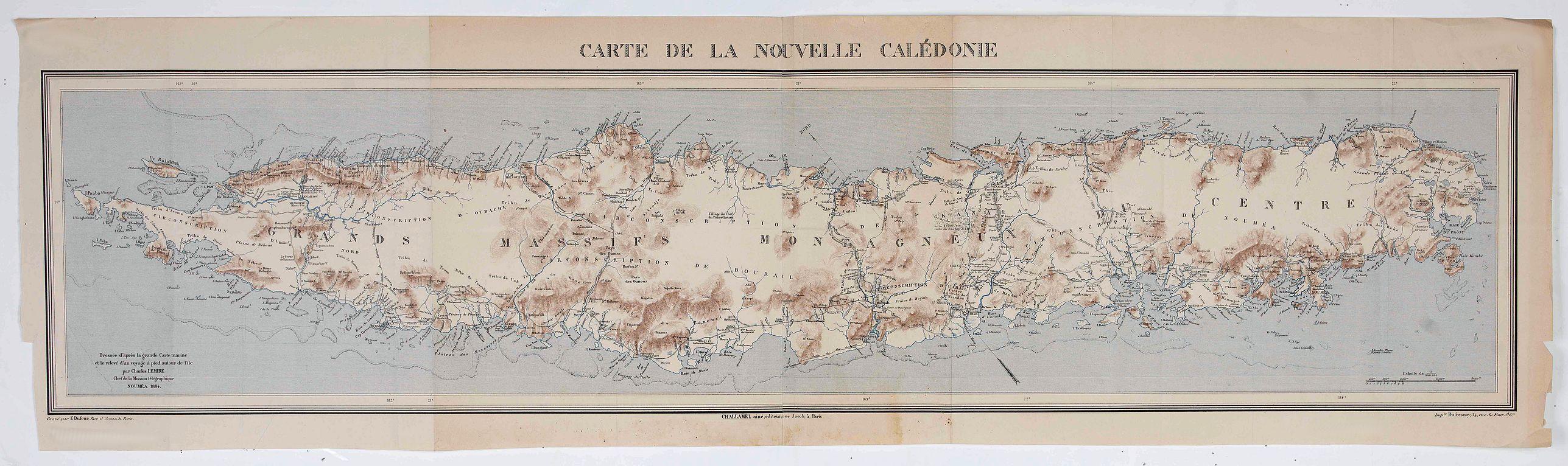 CHALLAMEL AINE - Carte de la Nouvelle Calédonie.