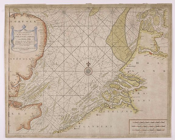 MOUNT, W. / PAGE, T. -  A Correct Chart Of The Sea Coasts Of England, Flanders And Holland Shewing The Sands Shoals Rocks And Dangers, The Bays Harbours Roads Buoys Beacons & Seamarks On The Said Coasts.