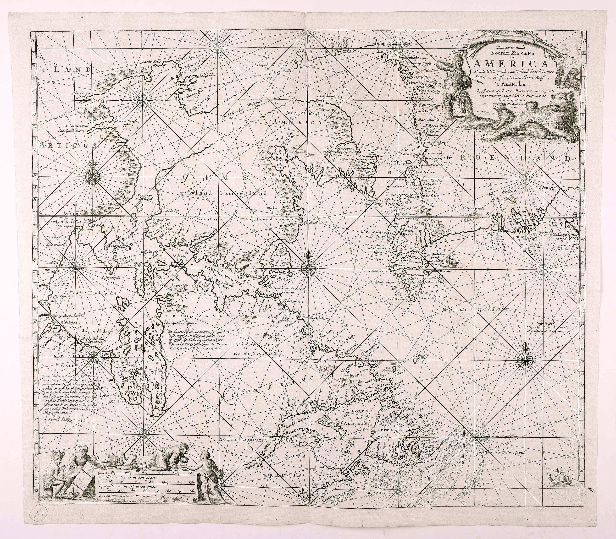 VAN KEULEN, G -  Pascaarte vande Noorder Zee Custen van America, vande West-Hoeck van Ysland doorde…