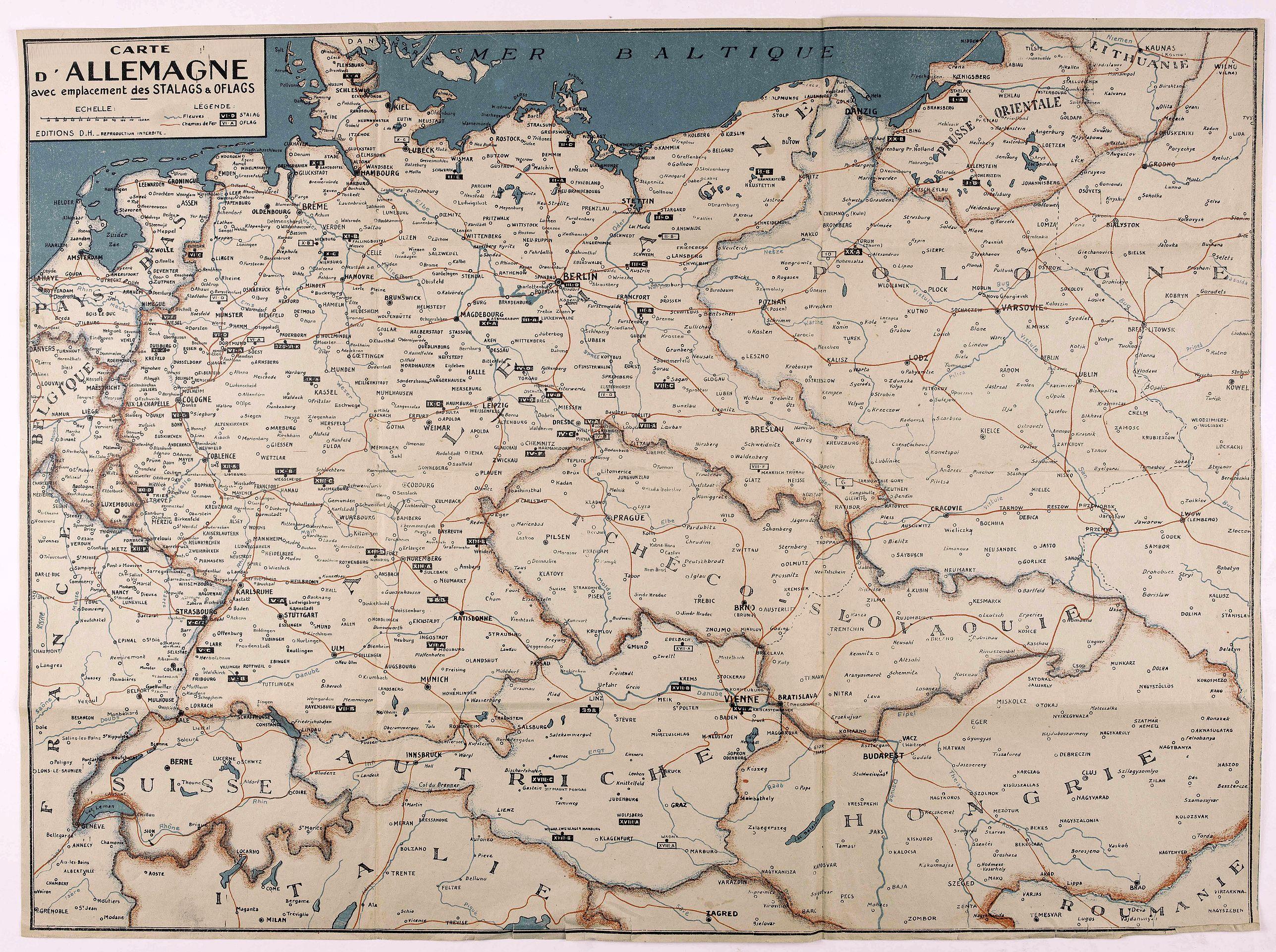 EDITIONS D. H. -  Carte d'Allemagne avec emplacement des stalags & oflags.
