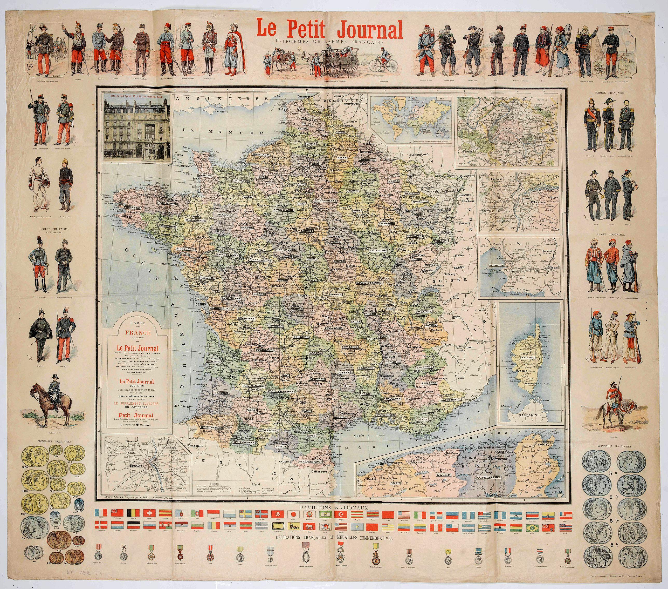 LE PETIT JOURNAL ILLUSTRE -  Le Petit Journal - Uniforme des armées Européennes. Carte de France.