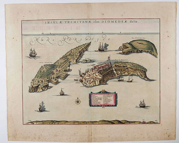BLAEU, J., Insulae Tremitanae, olim Diomedeae dictae., antique map, old maps