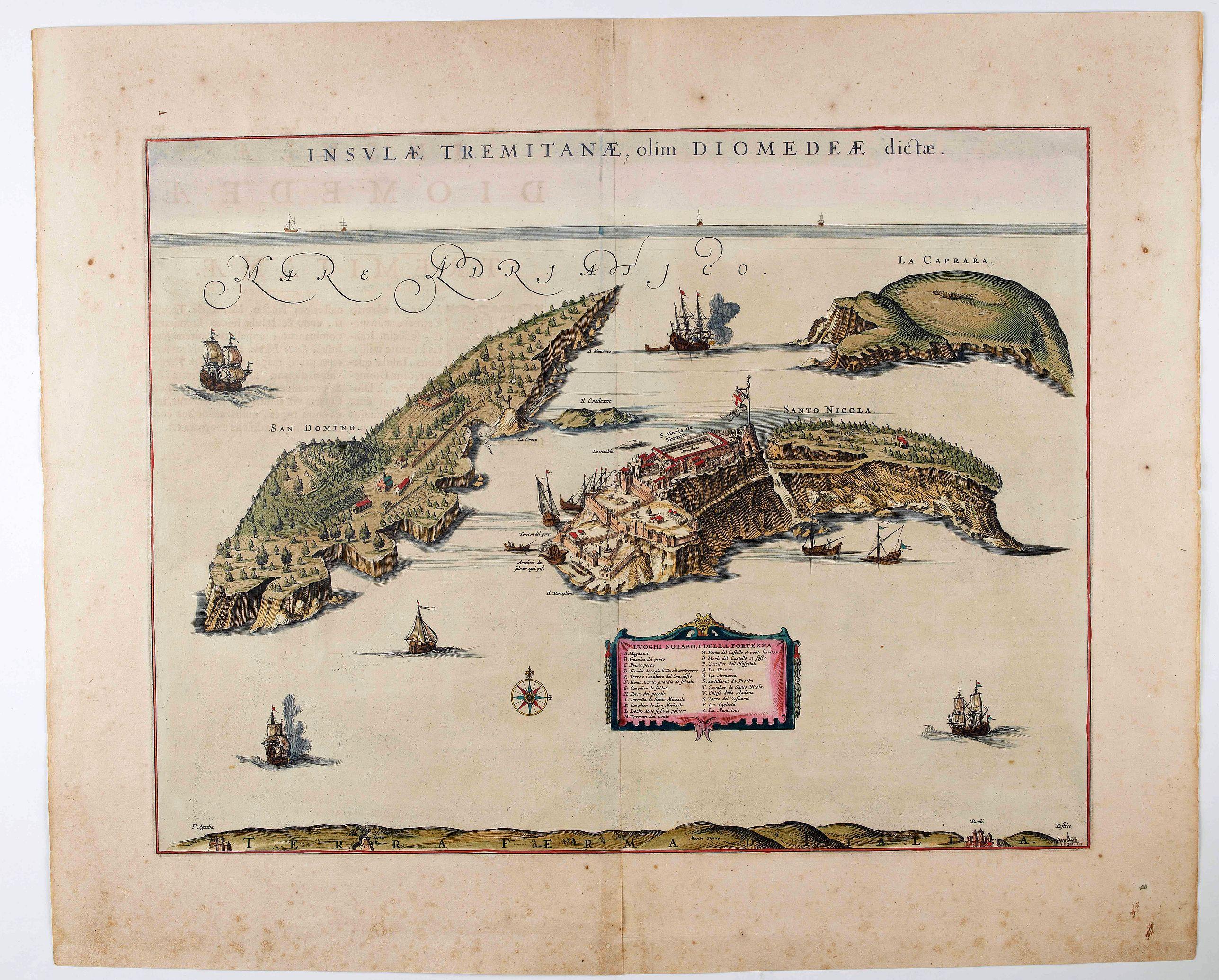 BLAEU, J. - Insulae Tremitanae, olim Diomedeae dictae.