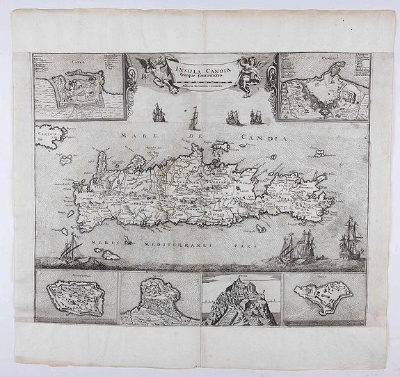 HOFFMANN, J.,  Insula Candia ejusque fortificatio., antique map, old maps