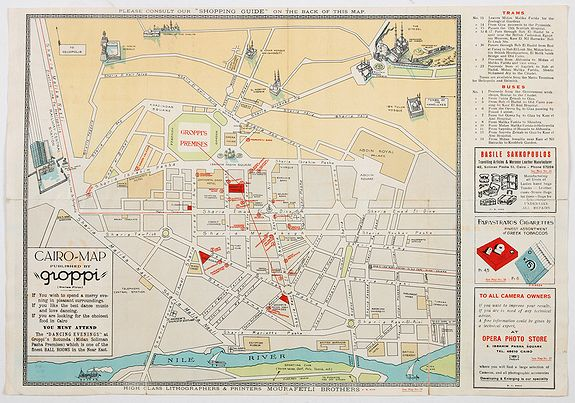 GROPPI., Souvenir Guide Map of Cairo., antique map, old maps