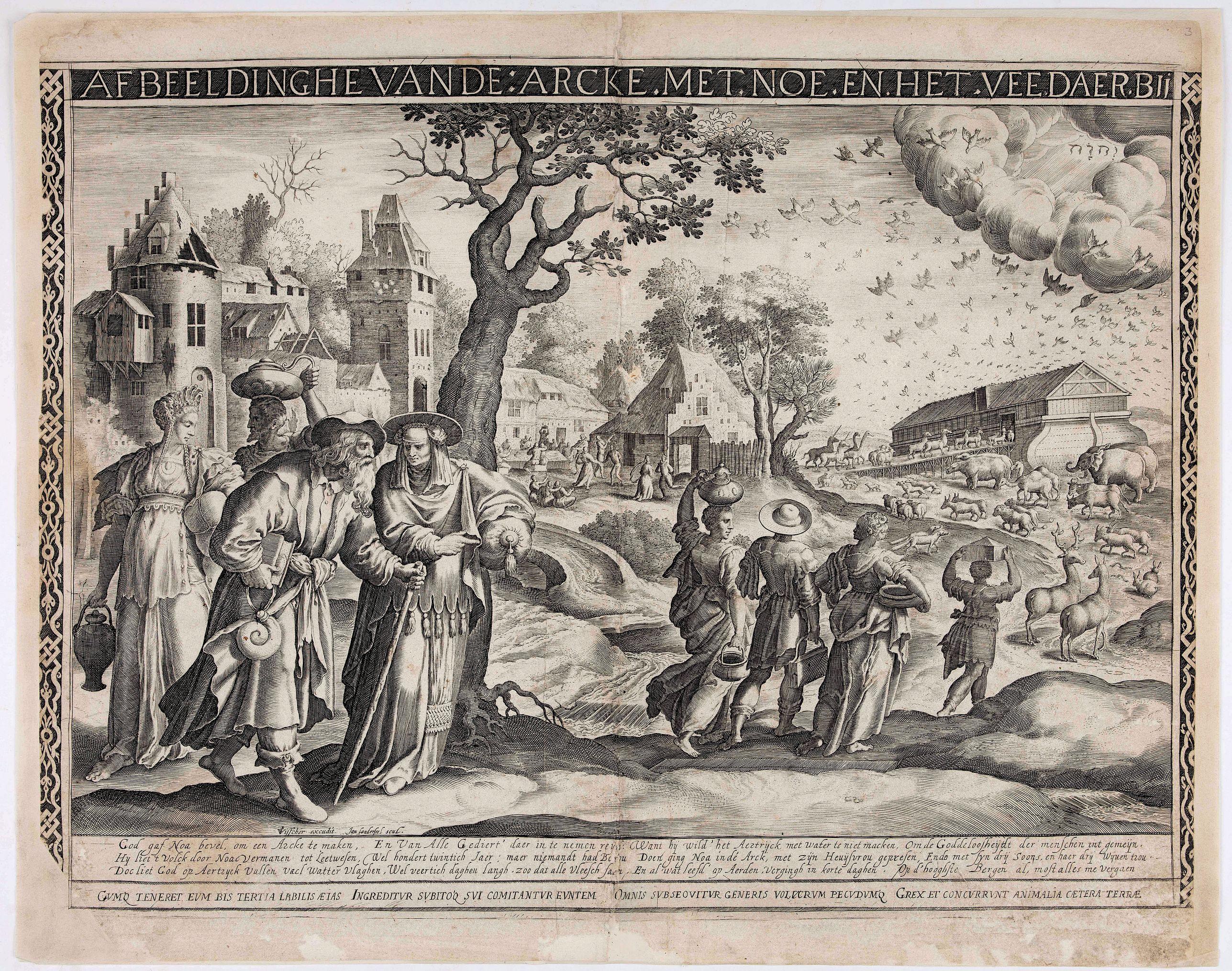 VISSCHER, C.J. / SONDERSEEL, J. -  Afbeeldinghe vande: arck. met. Noe. en. het. vee. daer. bij.