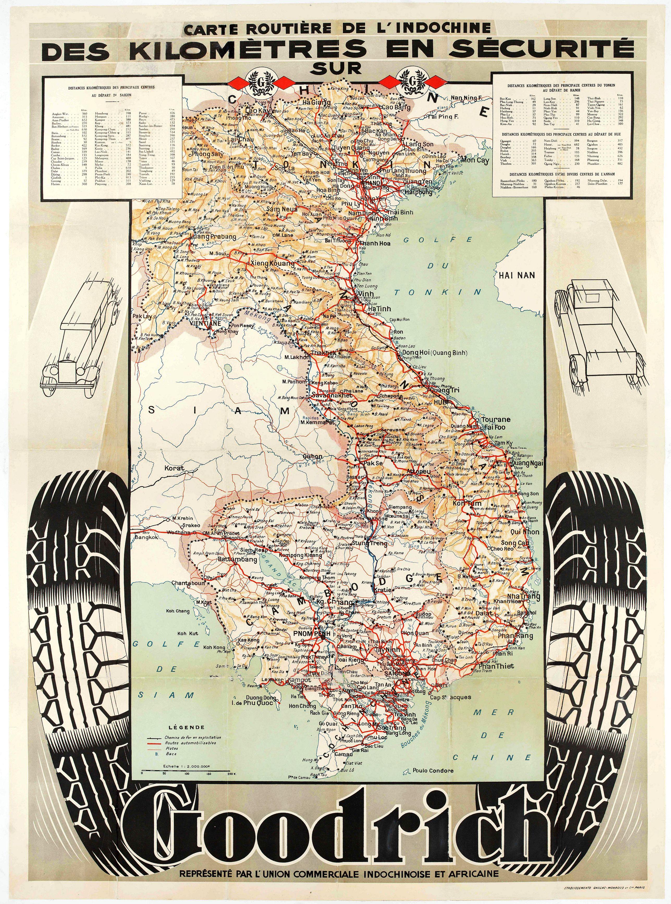 UNION COMMERCIALE INDOCHINOISE. -  Carte routière de l'Indochine. Des kilomètres en sécurité sur Goodrich.