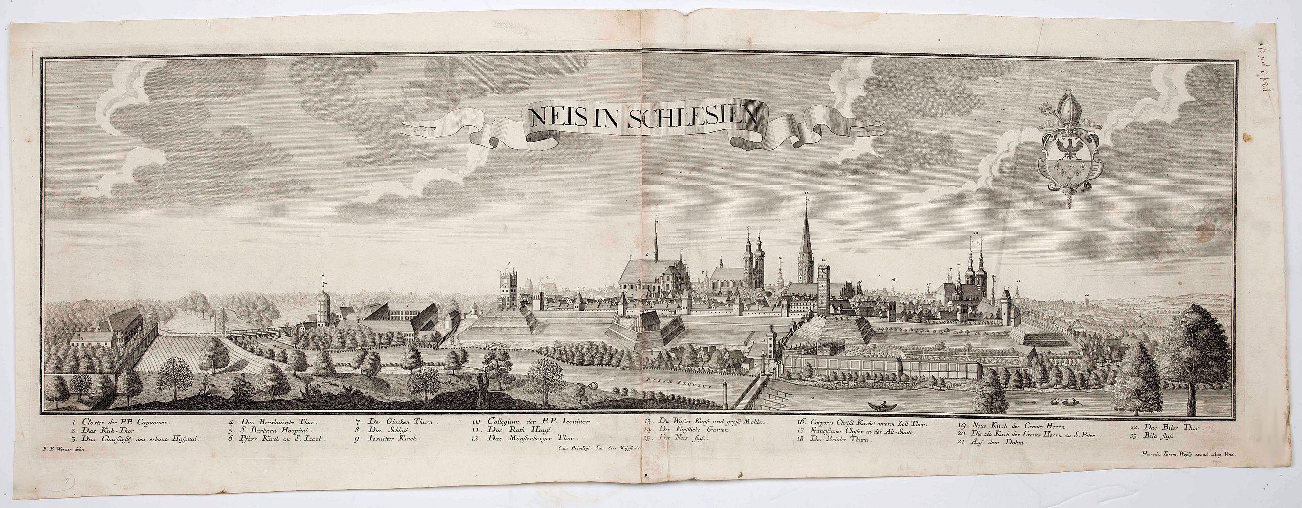 WOLFF, J. heirs / WERNER, F. B. -  Neis in Schlesien. (Nysa)