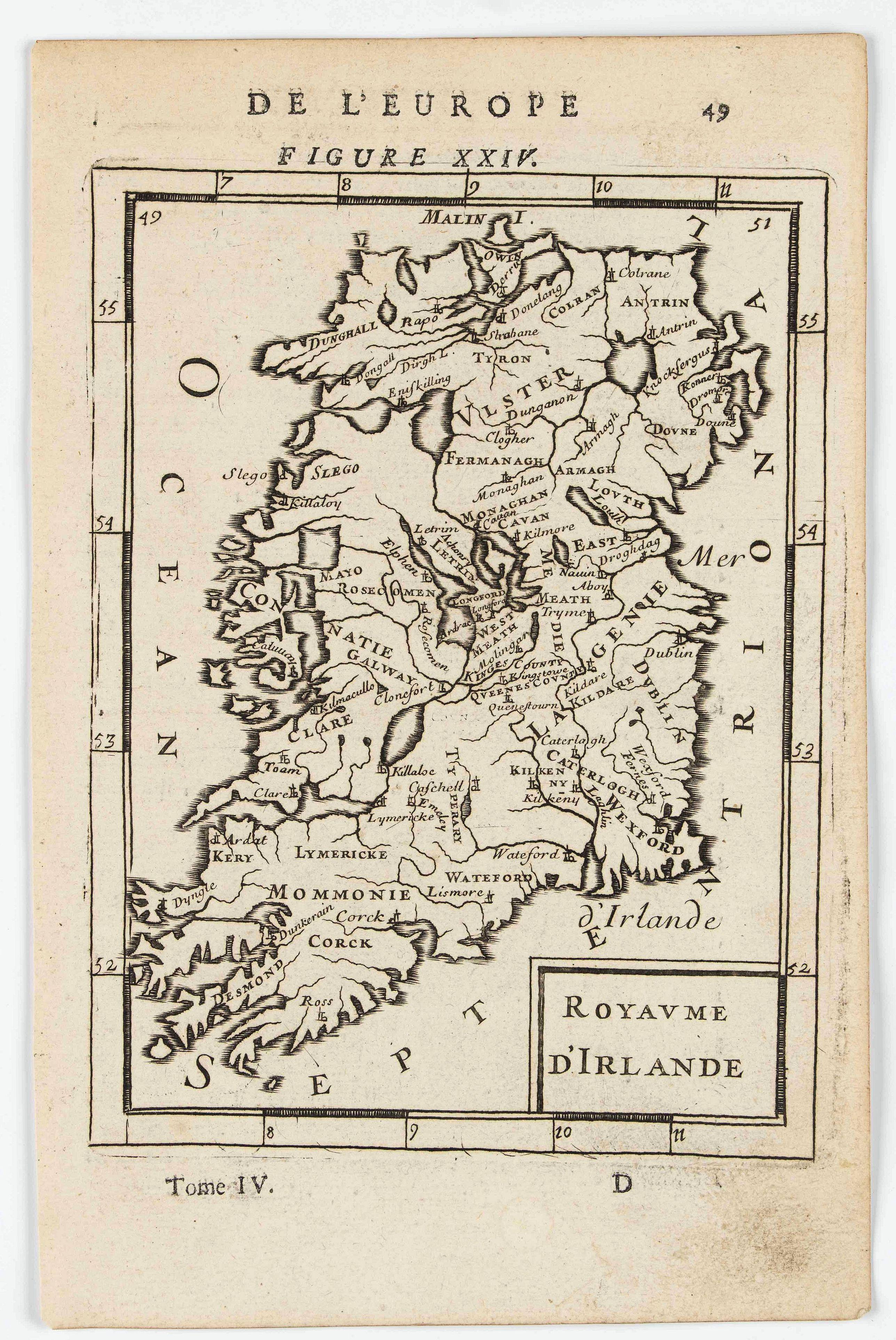 MANESSON MALLET, A. -  Royaume d'Irlande (Kingsom of Ireland).