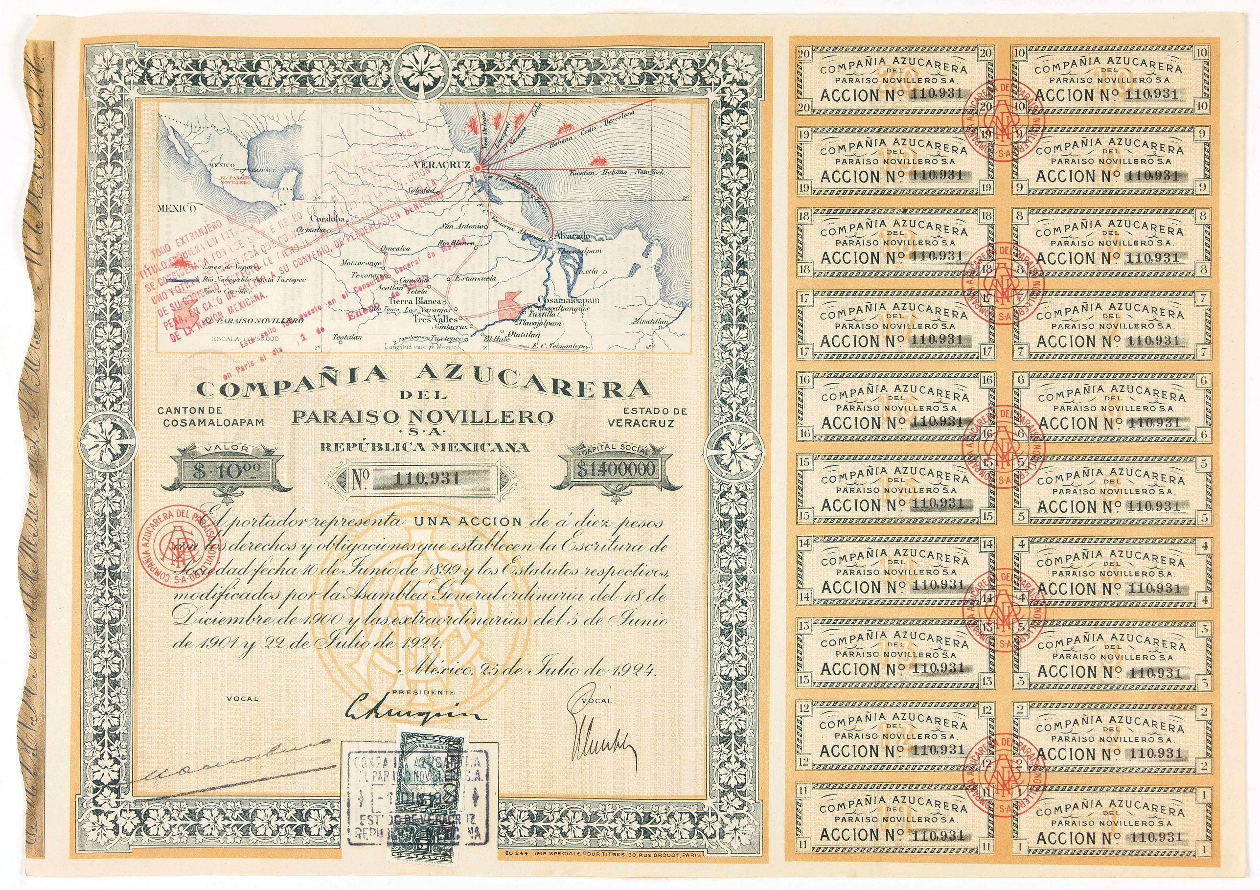 Compania Azucarera de Paraiso Novillero S.A. -  Accion de 10 pesos. No. 110,931  (Share certificate)