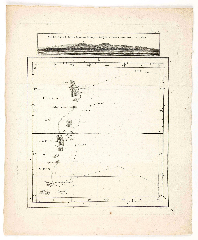 BONNE, Rigobert. -  Vue de la Côte du Japon lorsque nous la vimespour la 1ere fois La Coline A restant dans l'O à 3 Millerc.