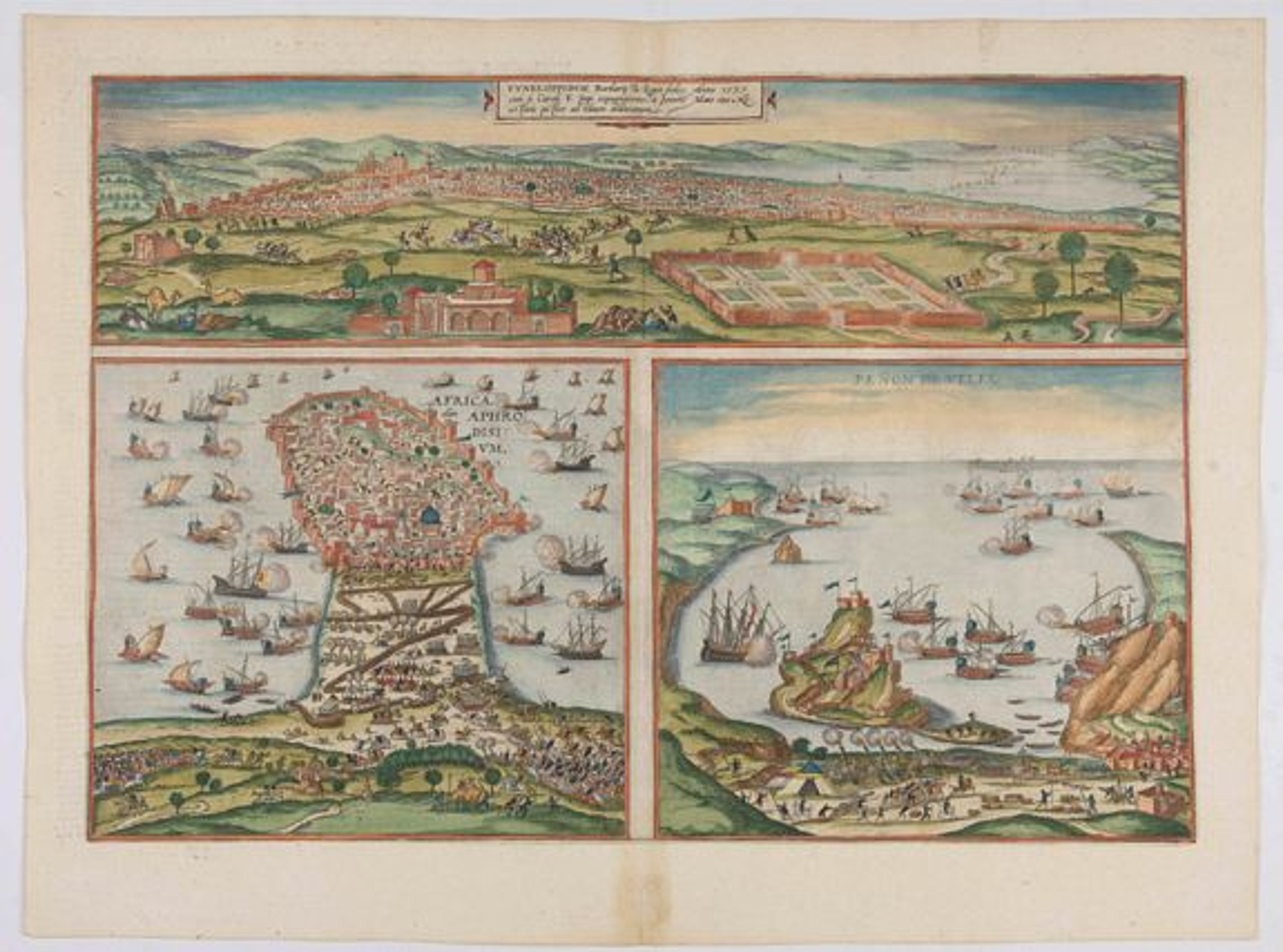 BRAUN, G. / HOGENBERG, F. -  Tunes, Oppidum Barbarie &, Regia Sedes... [on sheet with] Africa, olim Aphrodisium [and] Penon de Veles.