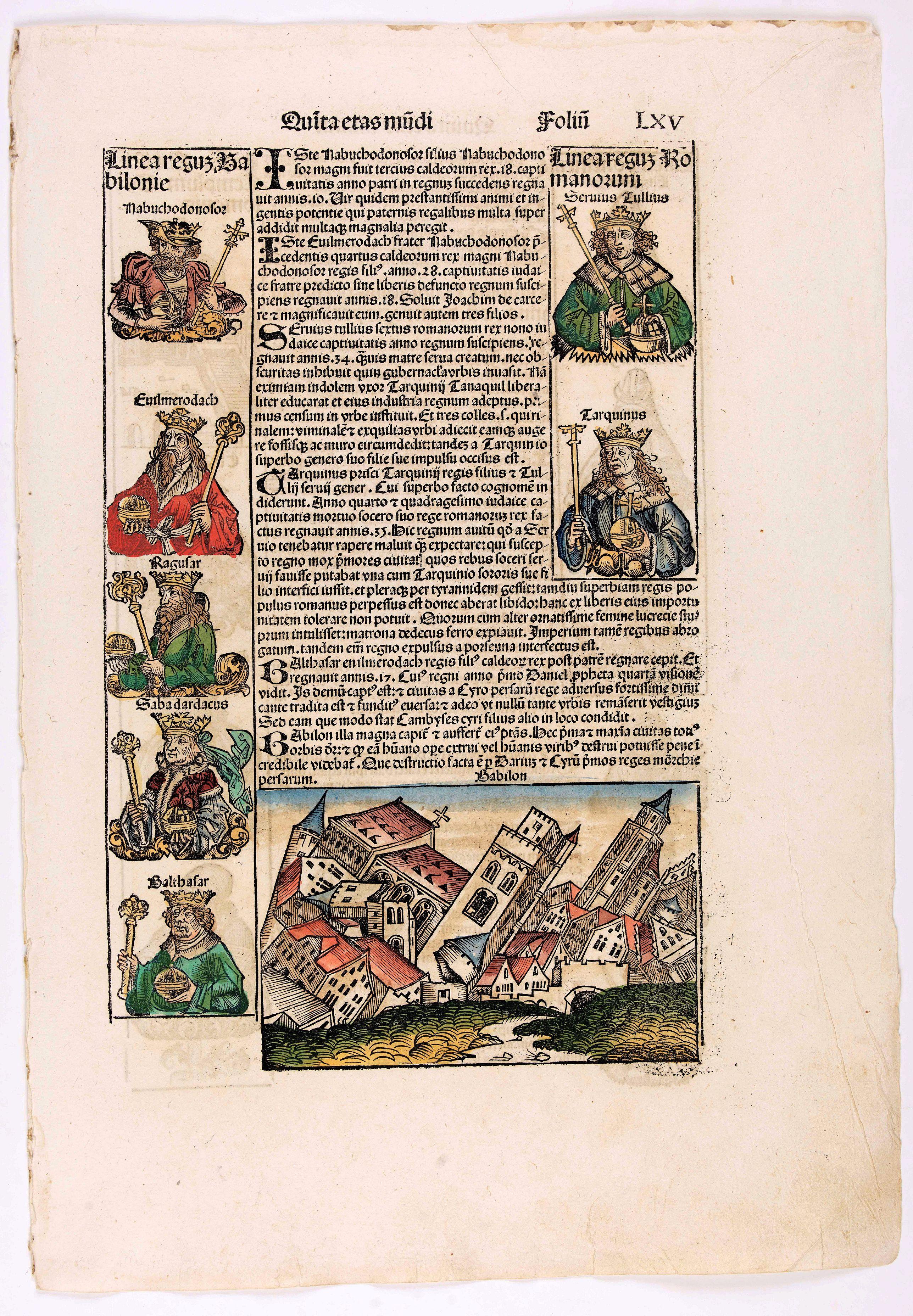 SCHEDEL, H. -  Quinta Etas Mudi. Folium. LXV (With view of Babylon)
