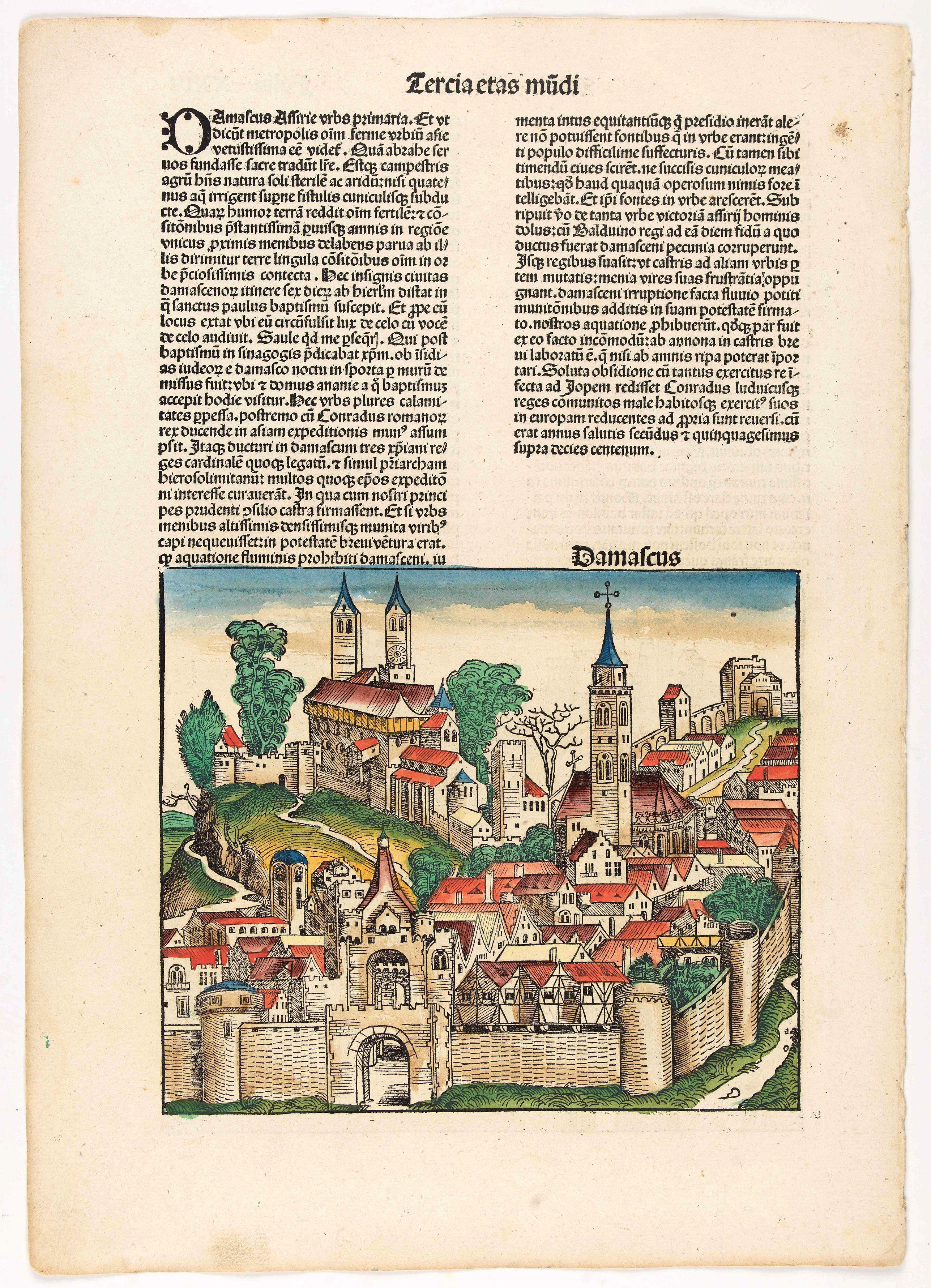 SCHEDEL, H. -  Tercia Etas Mundi. Foliu XXIII. [Damascus and Trier)