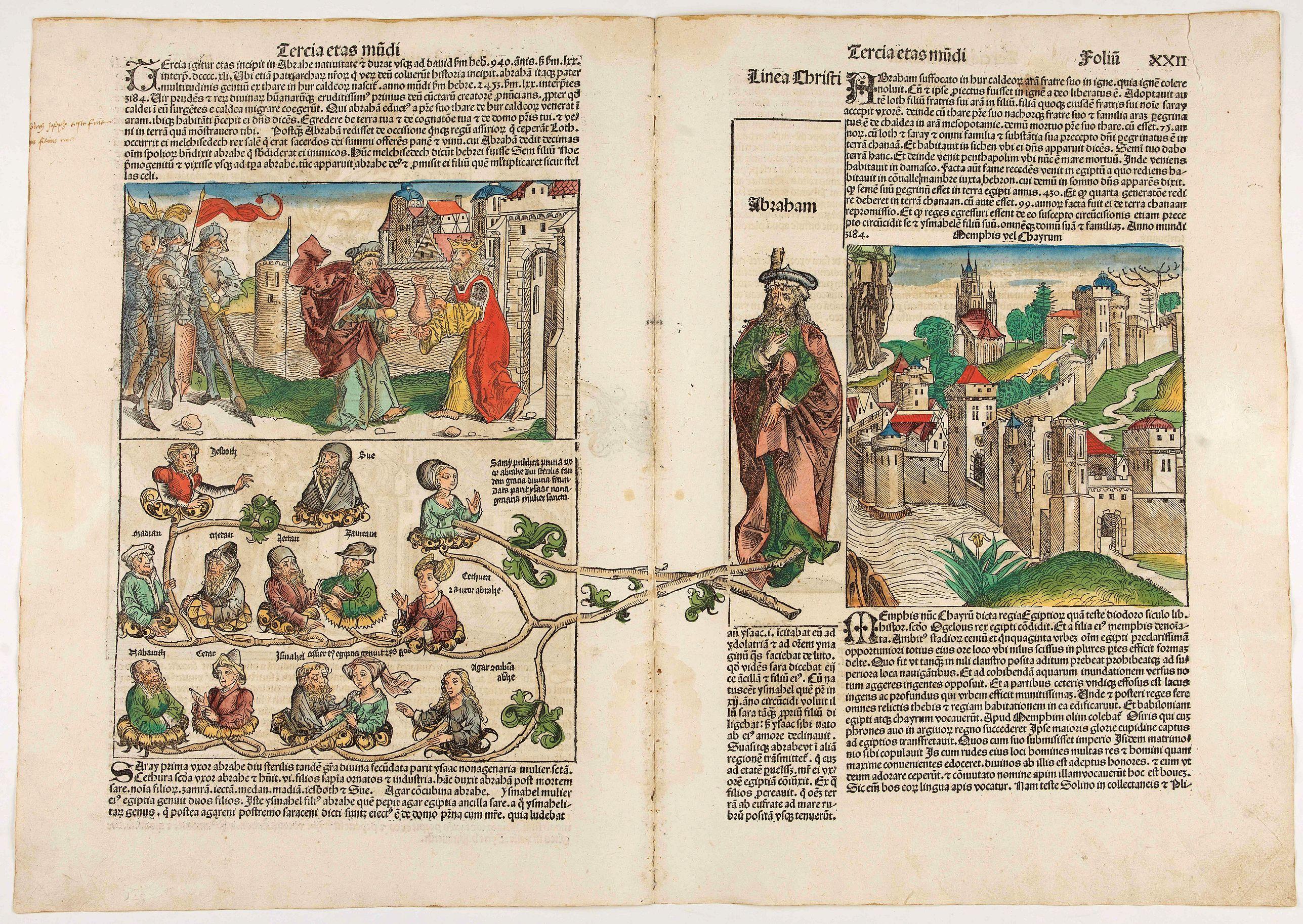 SCHEDEL, H. -  Secunda Etas Mundi. Foliu XXI (and) XXII [With genealogies of the Third Age of the World begining with Abraham]