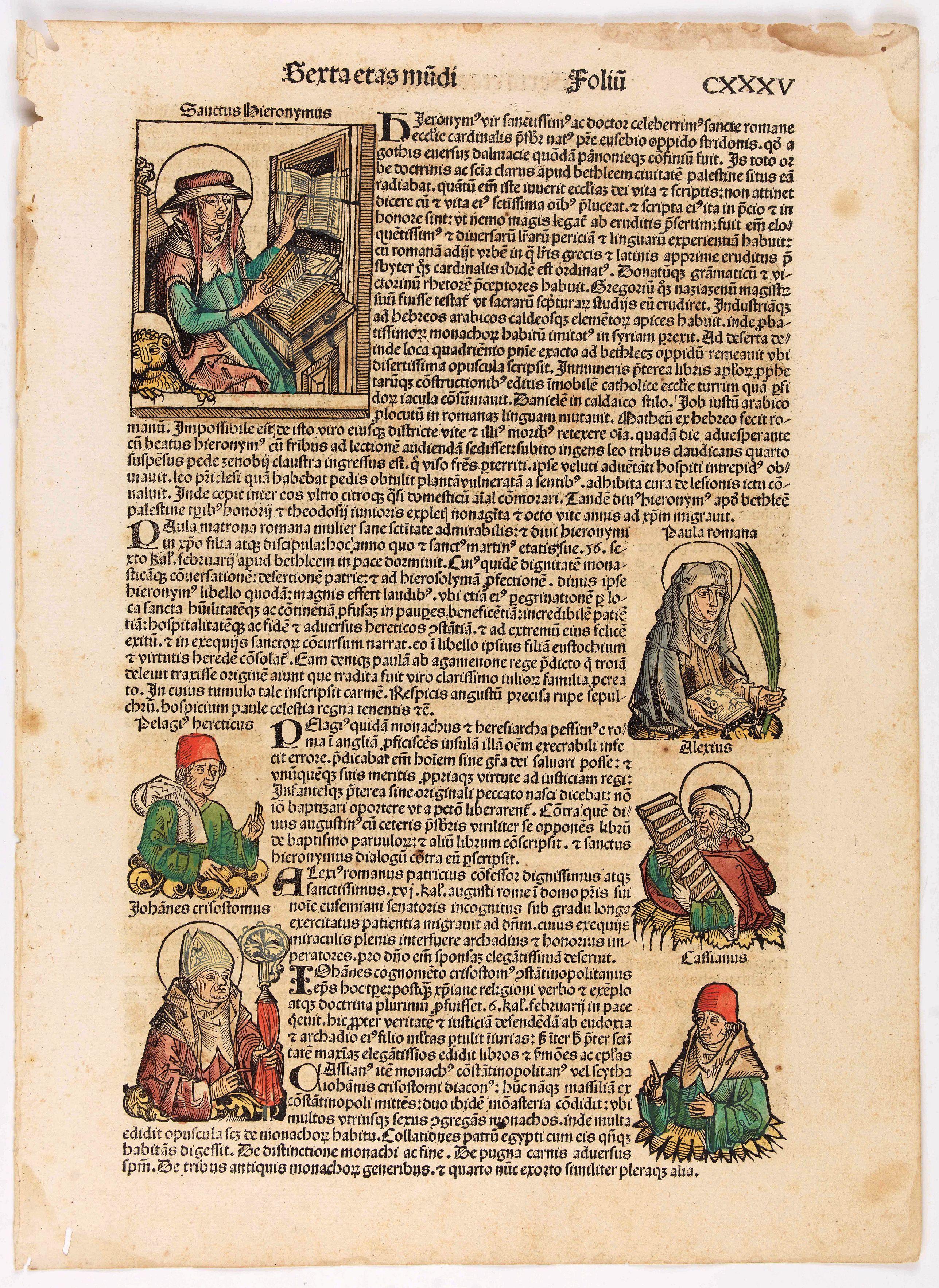 SCHEDEL, H. -  Terta Etas Mundi. Foliu CXXXV
