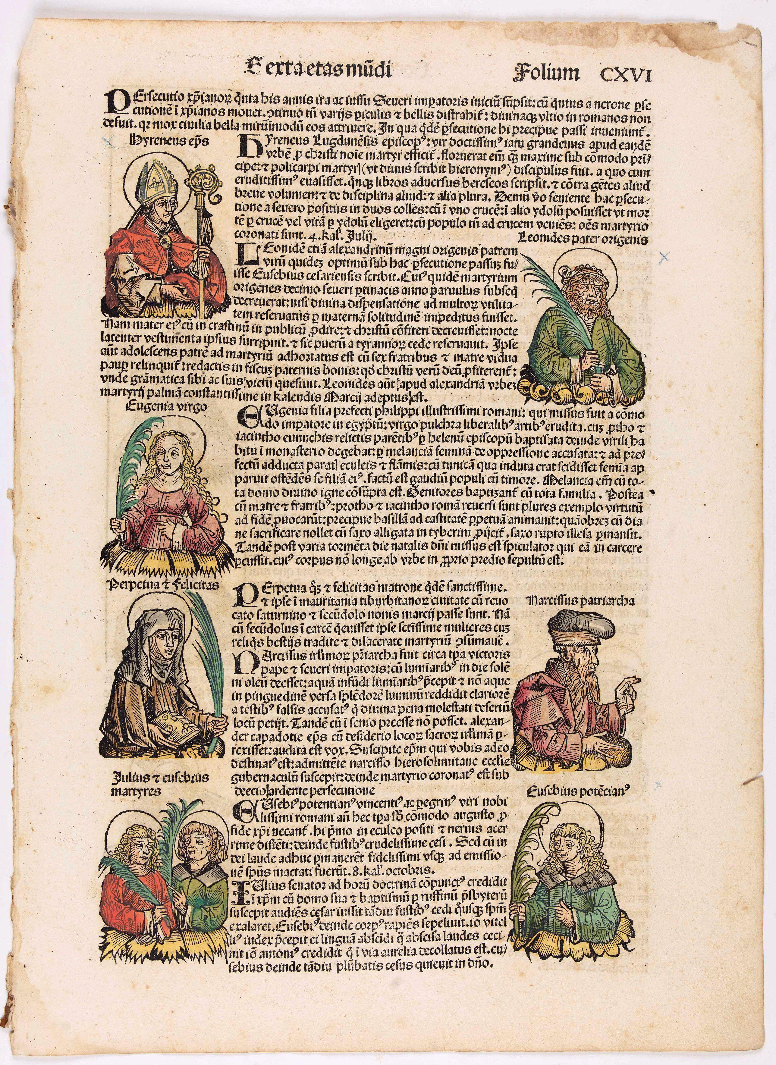 SCHEDEL, H. -  [Text page with illustrations of Saint Cecilia, Kings, Queens, Saints and Popes.] Sexta Etas Mundi. Folium. CXVI.