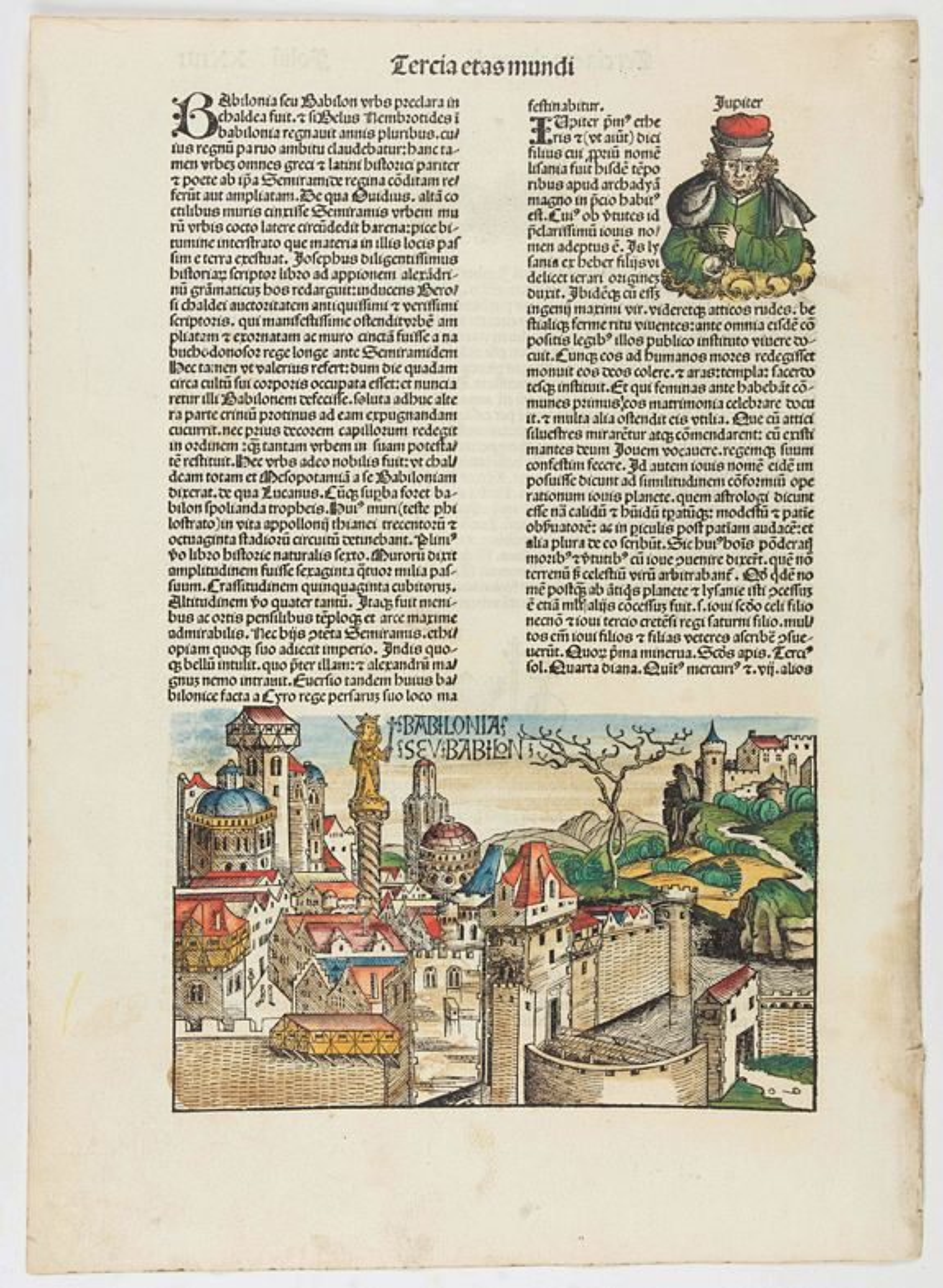 SCHEDEL, H. -  Babilonias. [Babylon] - Tercia Etas Mundi. Folium. XXIIII