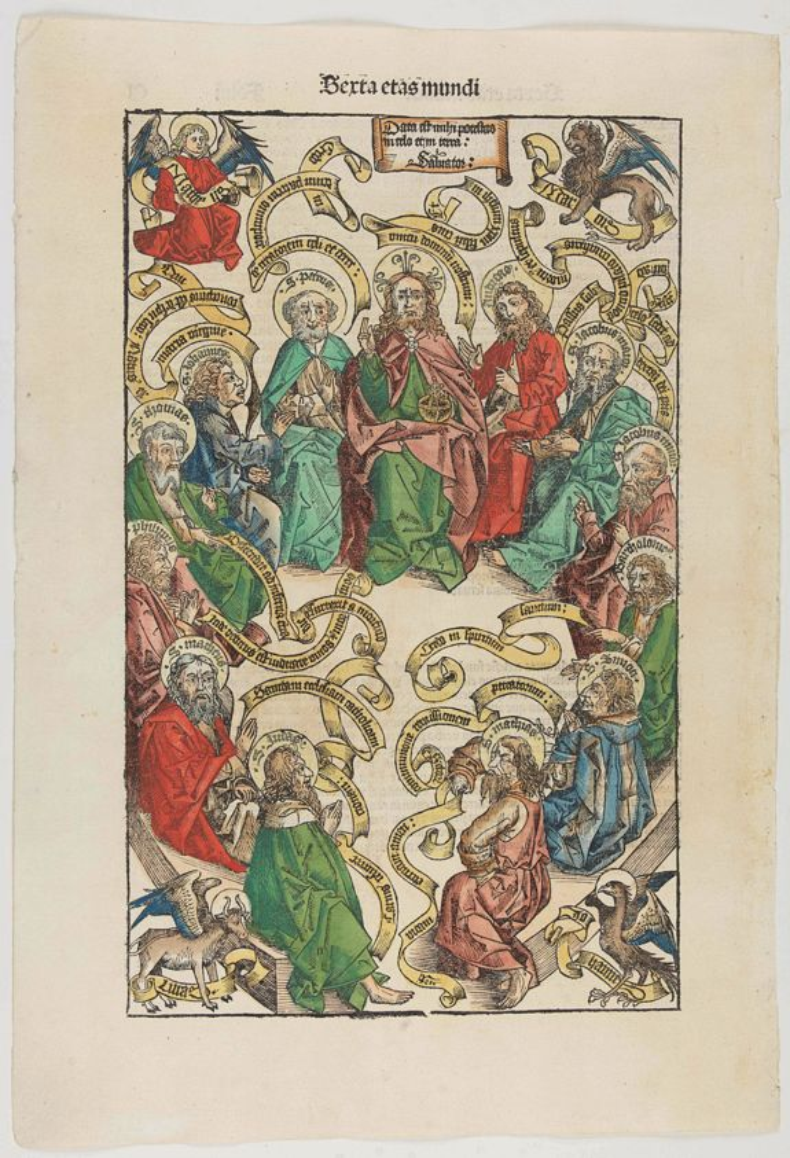 SCHEDEL, H. -  Tertia Etas Mundi. Folium. CI [Woodcut of Jesus and his apostles]