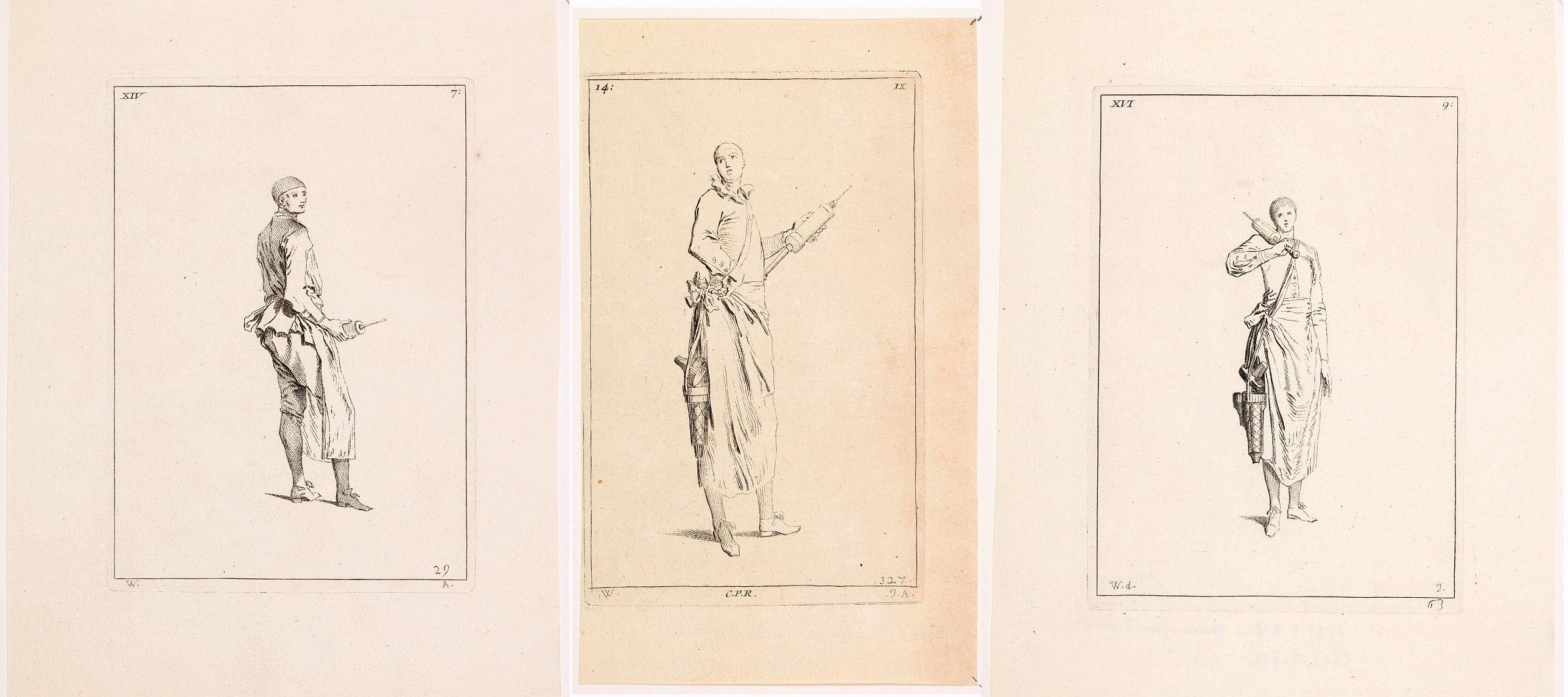 [after] WATTEAU, Jean-Antoine. -  [Three untitled medicine engravings].