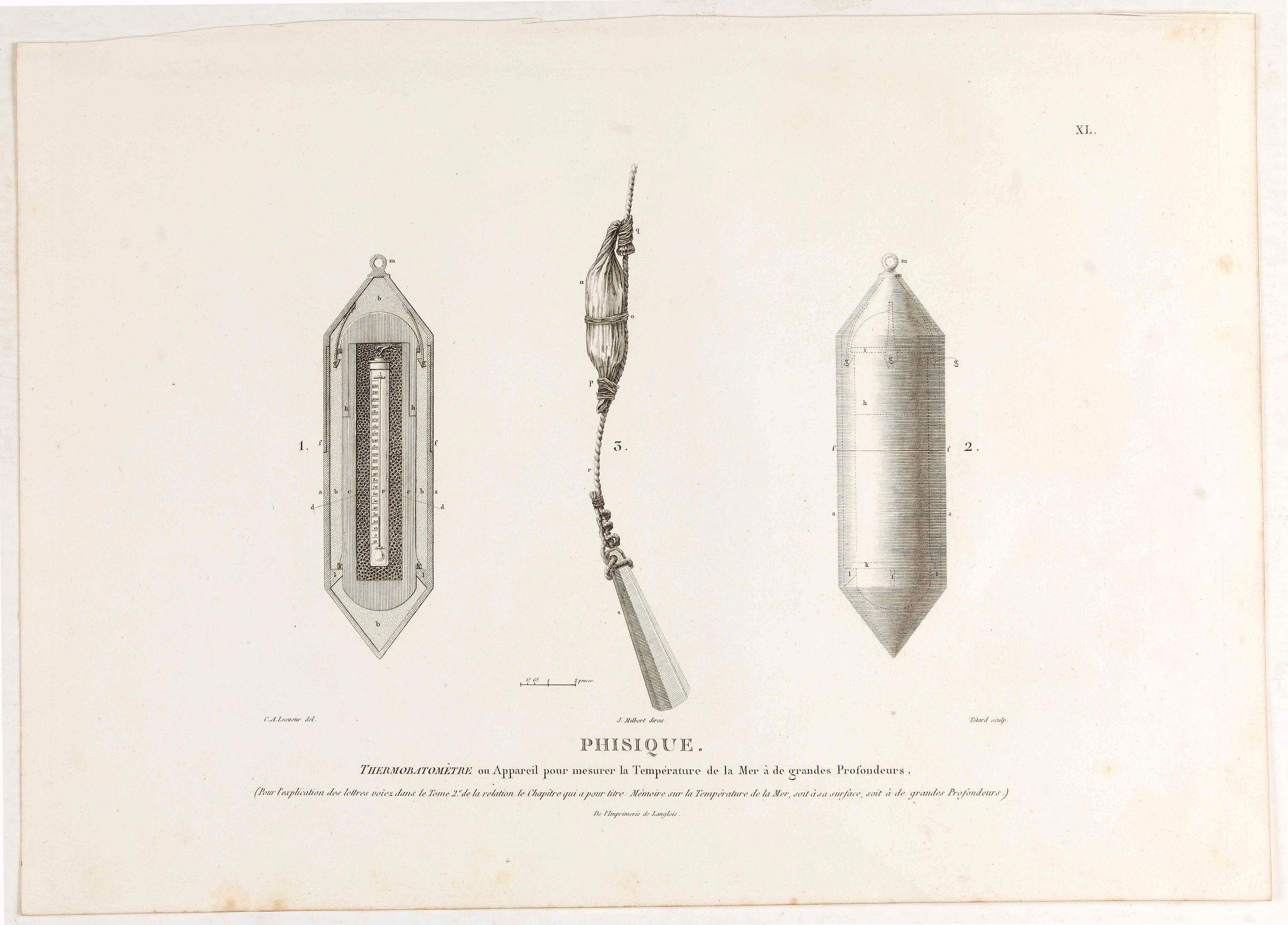 LESUEUR, C-A. / PERON, F. -  Phisique. Thermobatomètre ou Appareil pour mesurer la température de la mer a de grandes profondeurs. [plate XL]