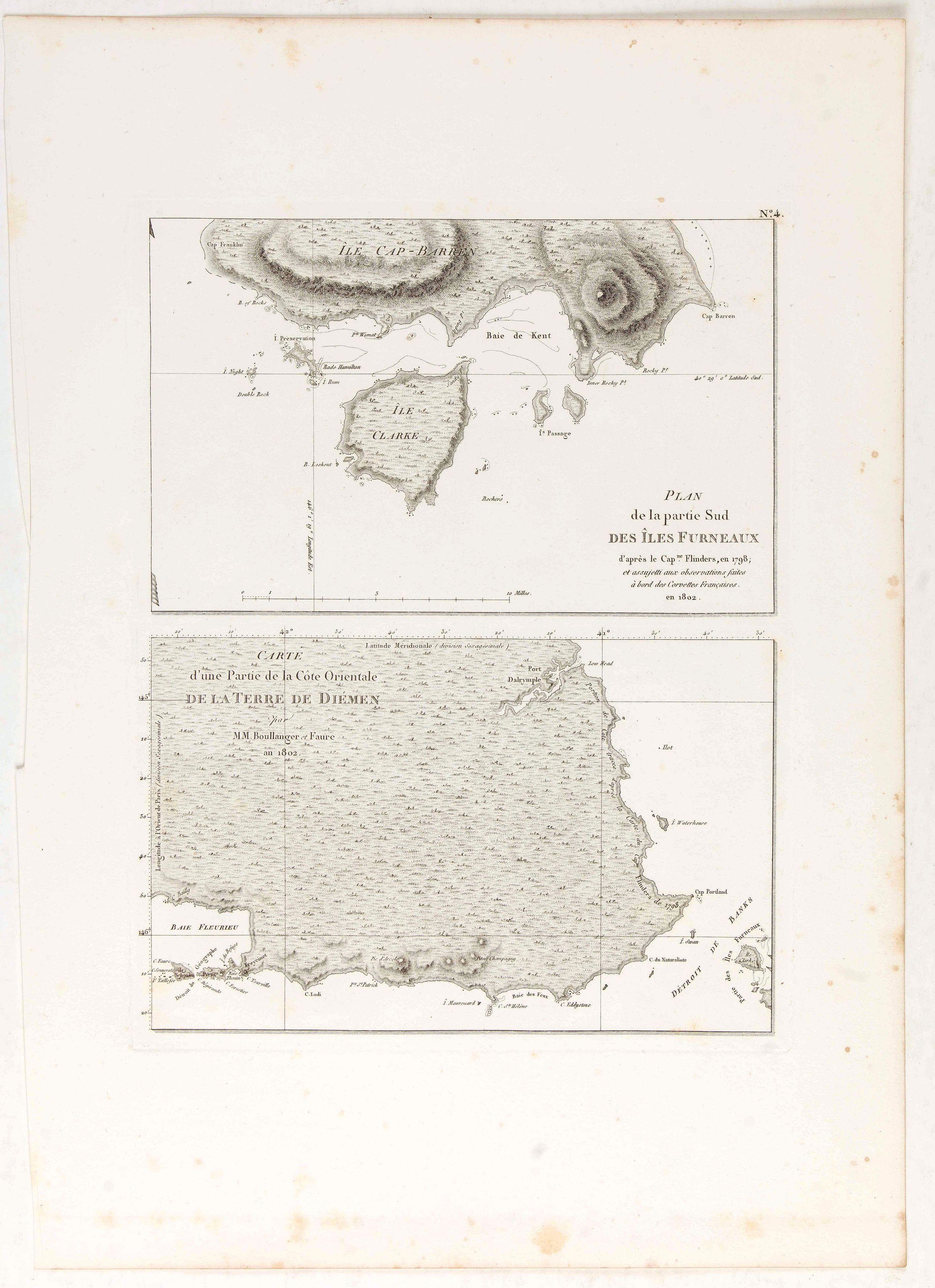 LESUEUR, C-A. / PERON, F. -  Plan de la partie sud des Iles Furneaux [with] Carte générale de la Partie Sud-Est de la Terre de Diémen . . .