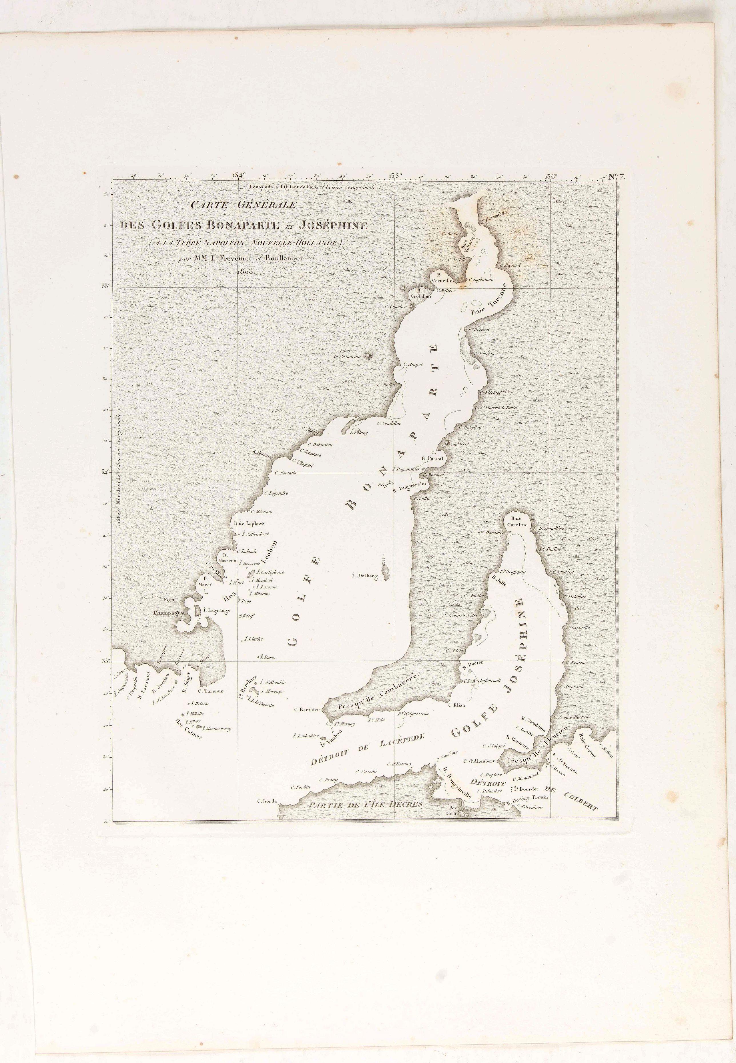 LESUEUR, C-A. / PERON, F. -  Carte générale des Golfes Bonaparte et Joséphine.