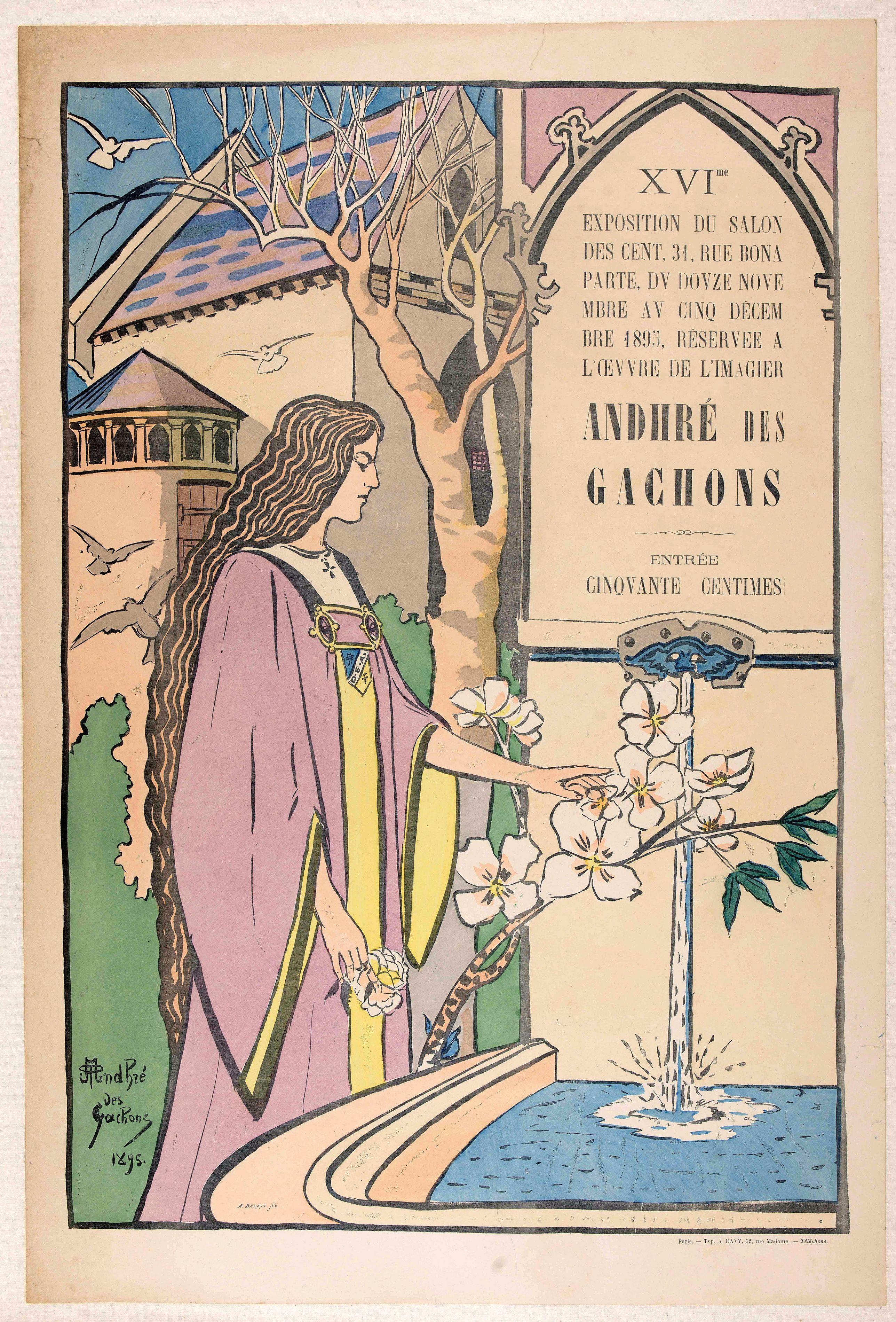 ANDHRE DES GACHONS. -  Exposition Salon des Cent, 31, rue Bonaparte, du douze novembre au cinq décembre1895, réservée à l'œuvre de l'imagier Andhré des Gachons.