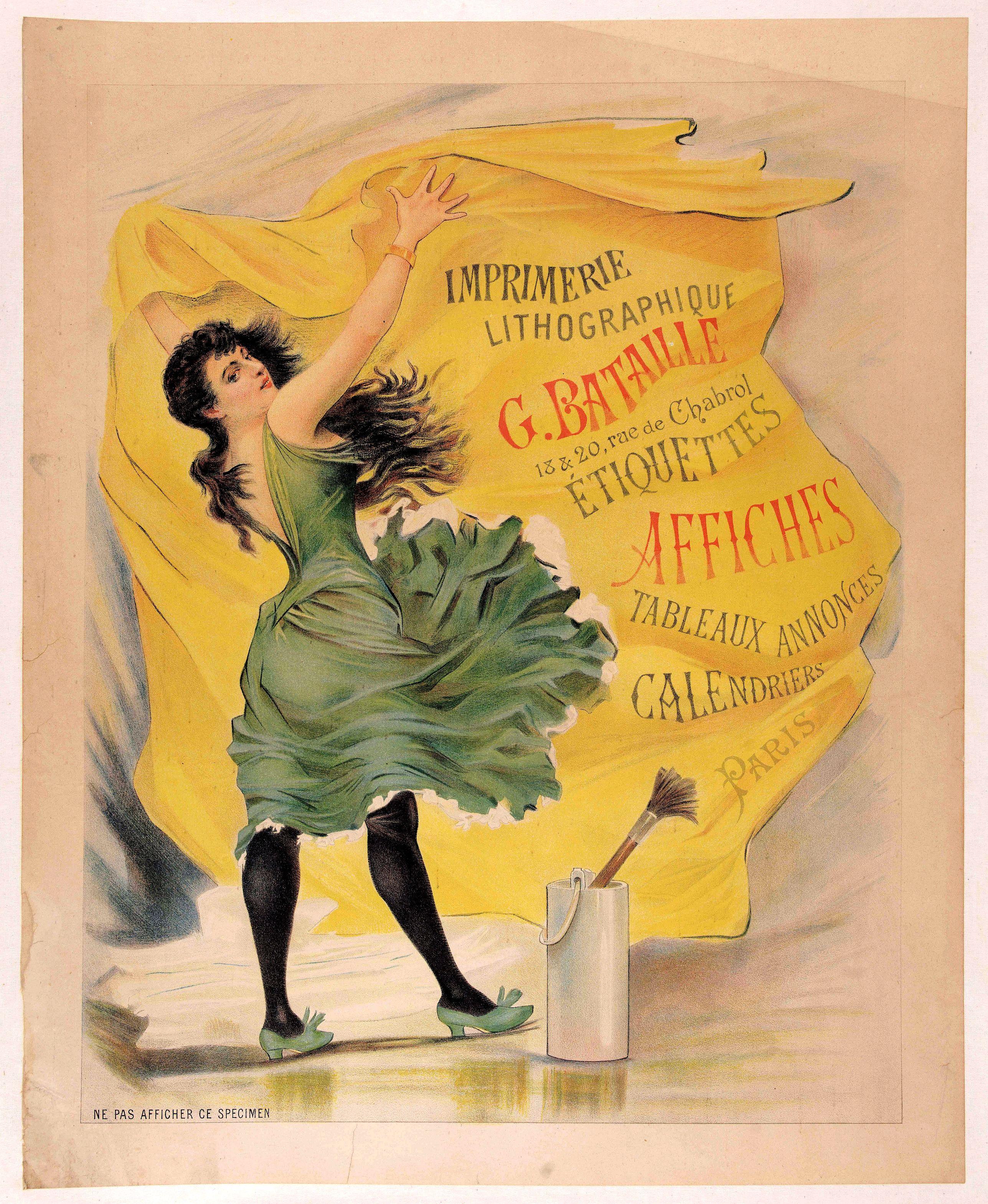 BATAILLE, G. -  Imprimerie lithographique G. BATAILLE 18&20 rue de Chabrol - Etiquettes affiches tableaux annonces calendriers Paris.