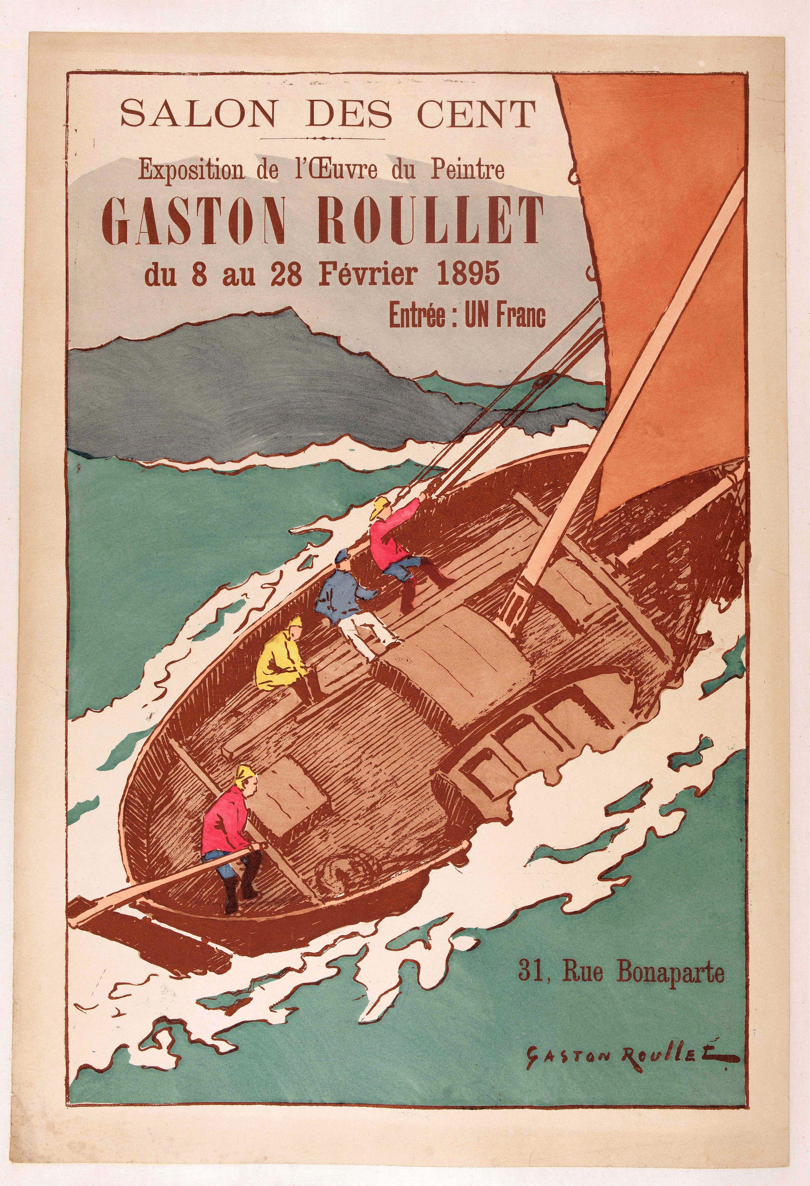 ROULET, G. -  Salon des Cent, exposition de l'œuvre de Gaston Roullet du 8 au 28 février 1895.