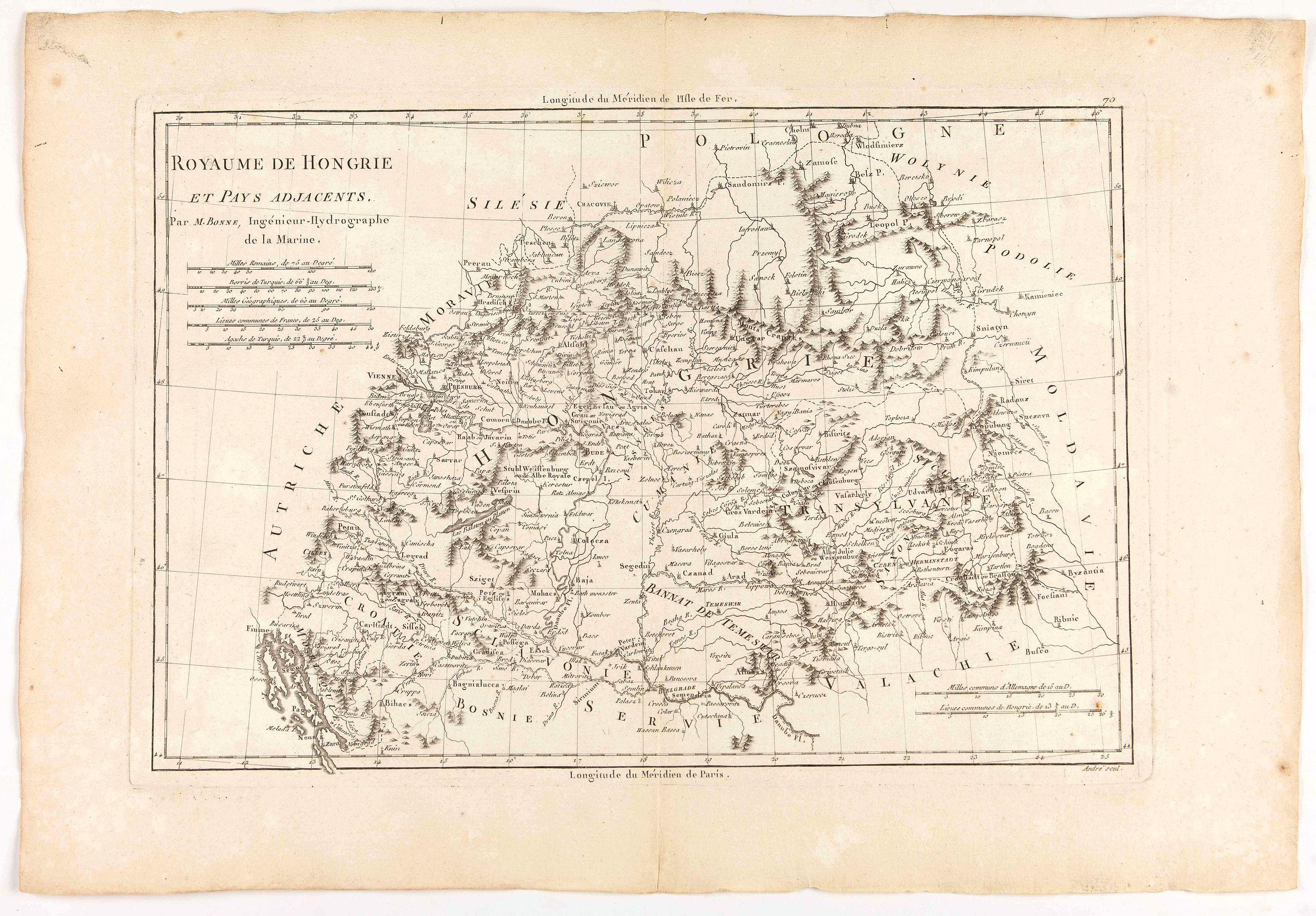 BONNE, R. -  Royaume de hongrie et Pays Adjacents.