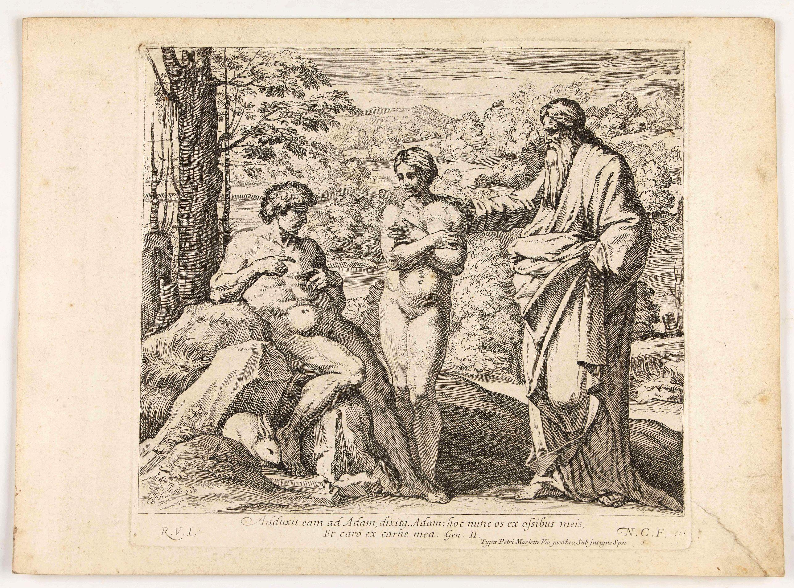 CHAPRON, N. -  Adduxit eam ad Adam, dixitg Adam hocnunc os ex ossibusmeis . . . (Plate 5)