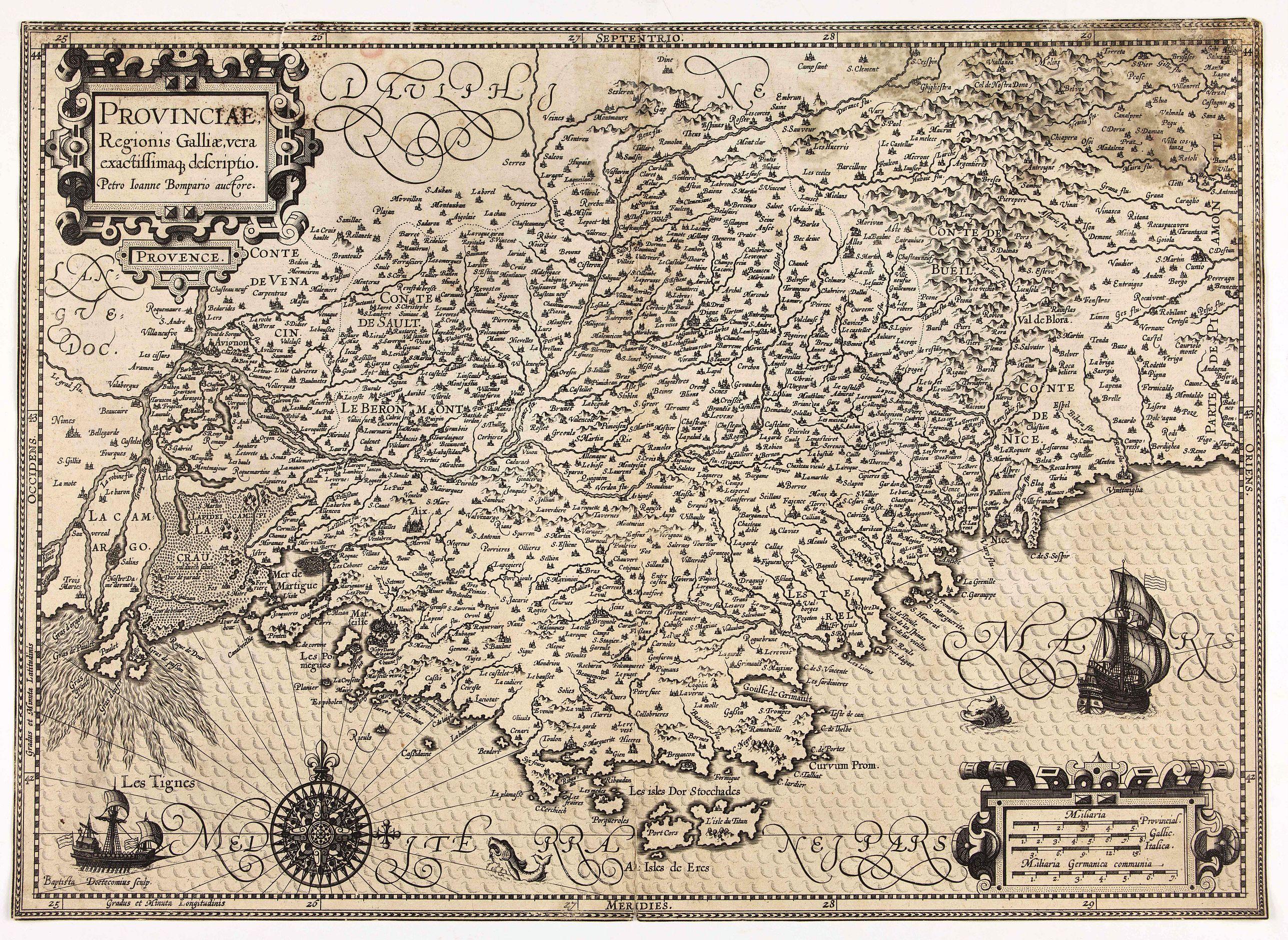 HONDIUS, J. / DOETECOM, B. -  Provinciae, Regionis Galliae, vera exactissimaq. descriptio. Provence Petro Ioanne Bomparioo auctore.
