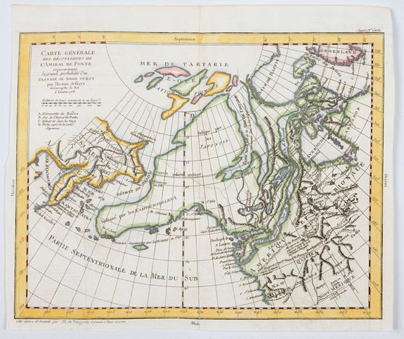 DE VAUGONDY. - General Map of the Discoveries of Admiral de Fonte representing the great probability of a Passage to the North West by Thomas Jefferys. . .