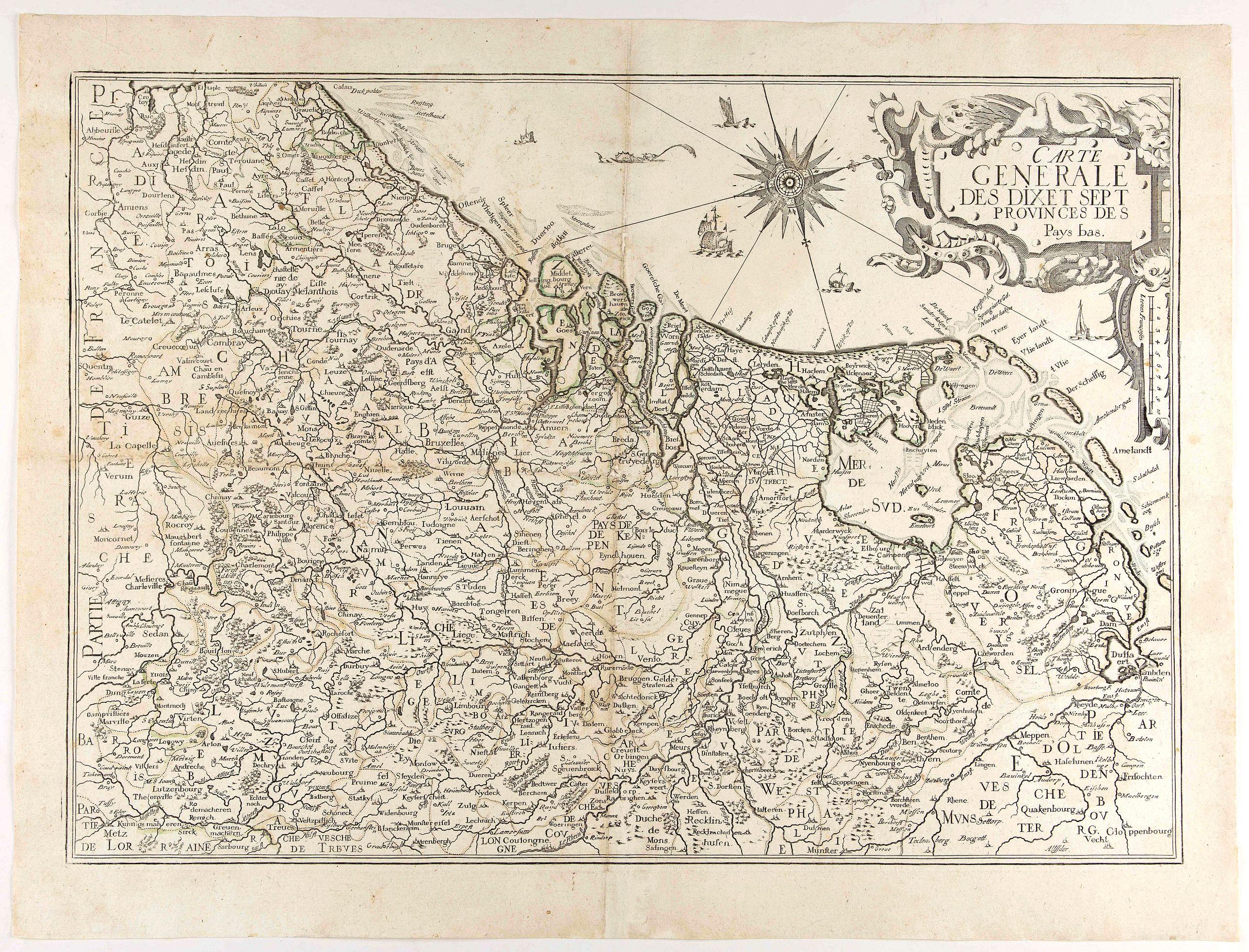 BEREY, N. / TASSIN, C. -  Carte Generale des Dixet Sept Provinces des Pays Bas.