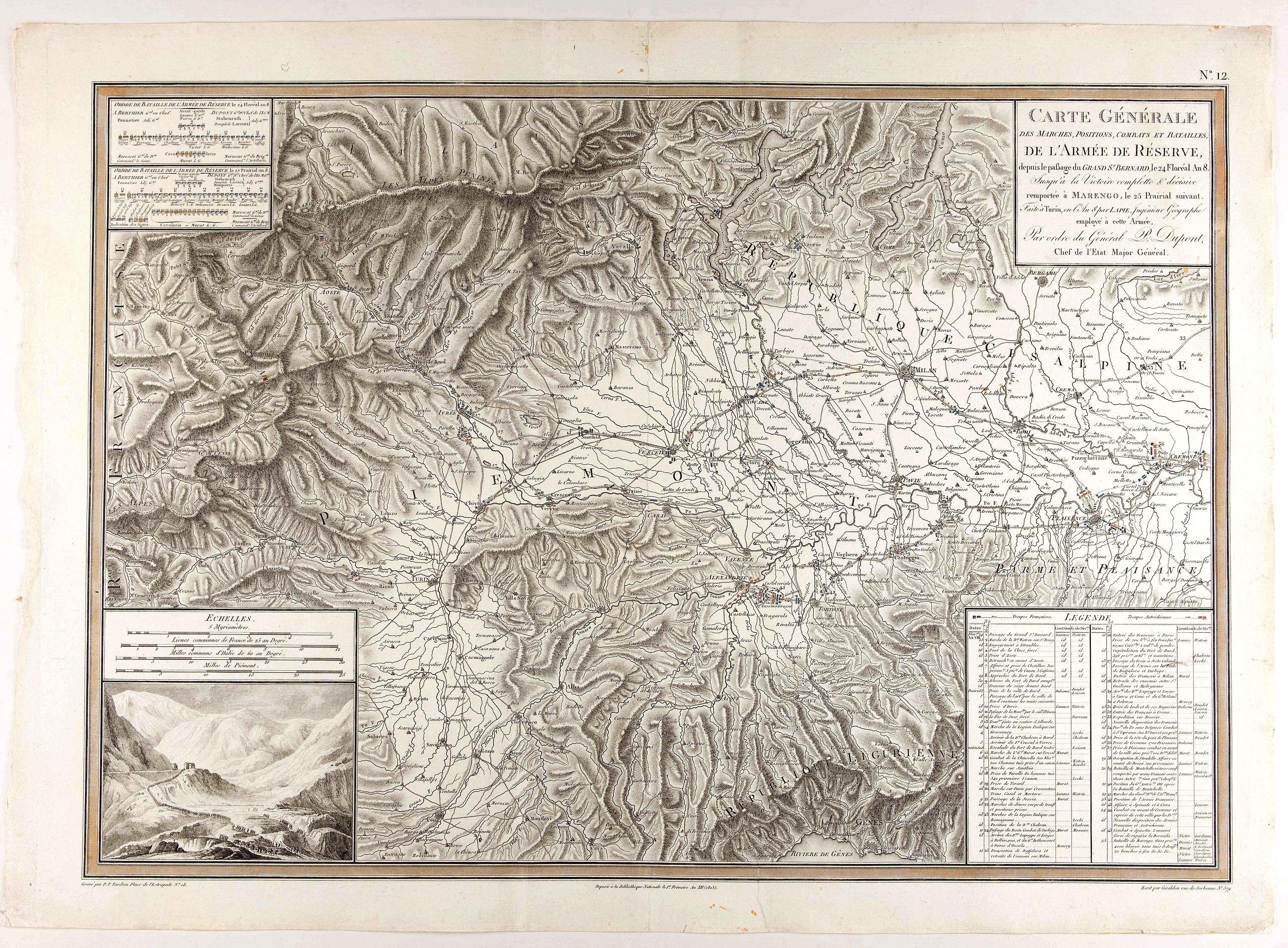 TARDIEU, P.F -   Carte générale des marches, positions, combats et batailles de l'Armée de réserve. . . (N°12)
