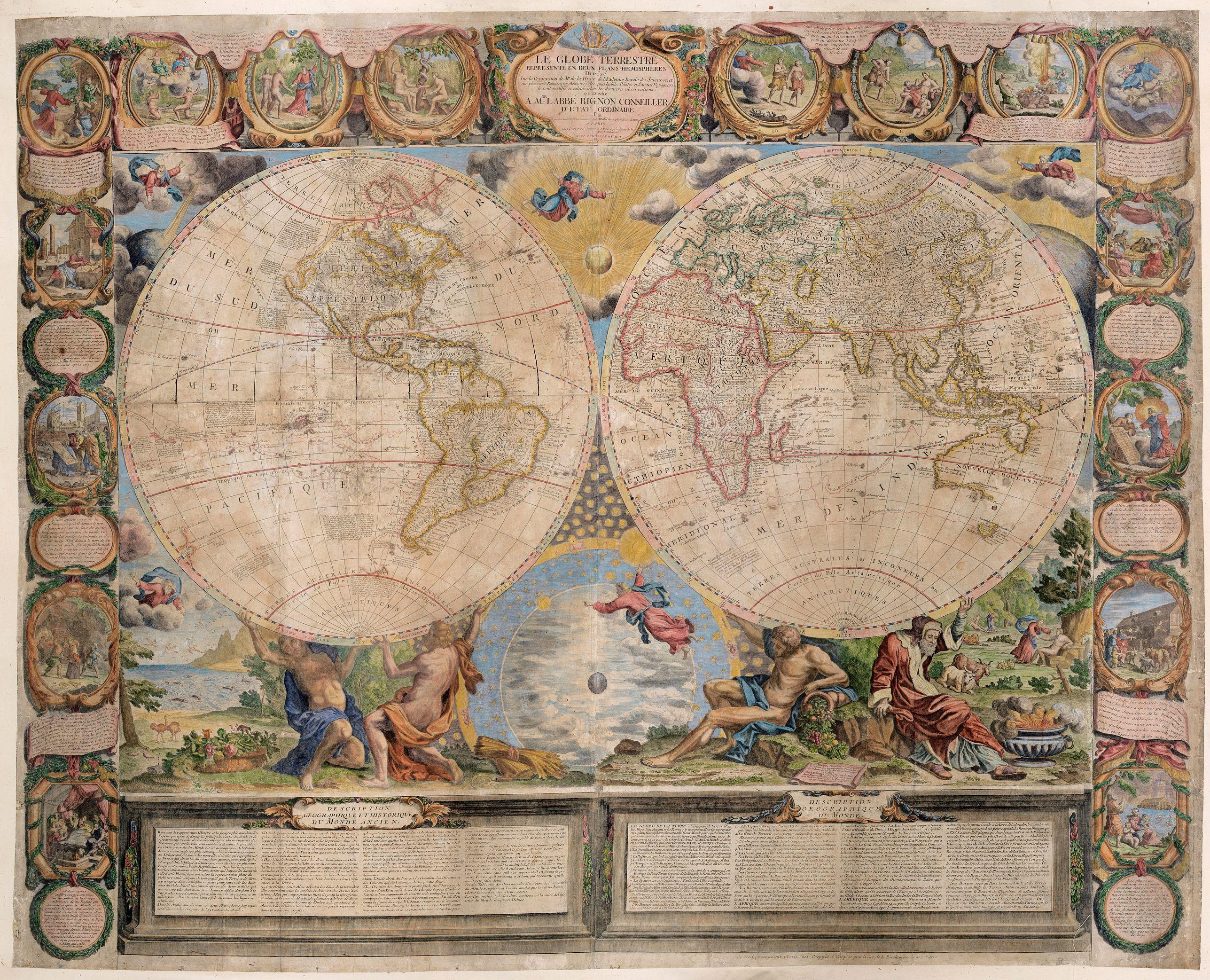 CREPY, J-B. / NOLIN, J.-B. -  Le Globe Terrestre represente en deux plans-hemispheres dresee. . .