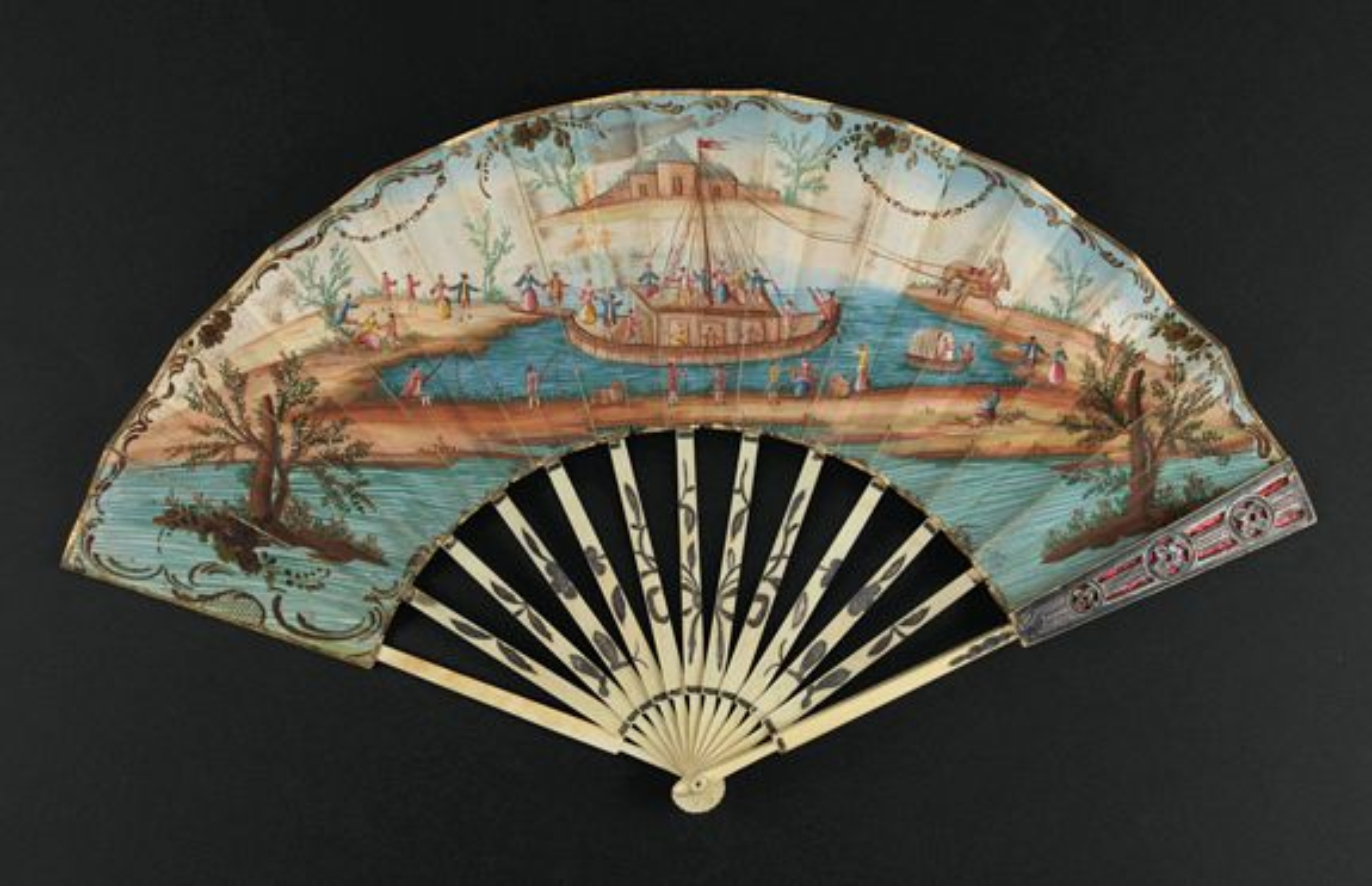 ANONYMOUS -  A folding  fan showing a nautical festival, ca. 1770.