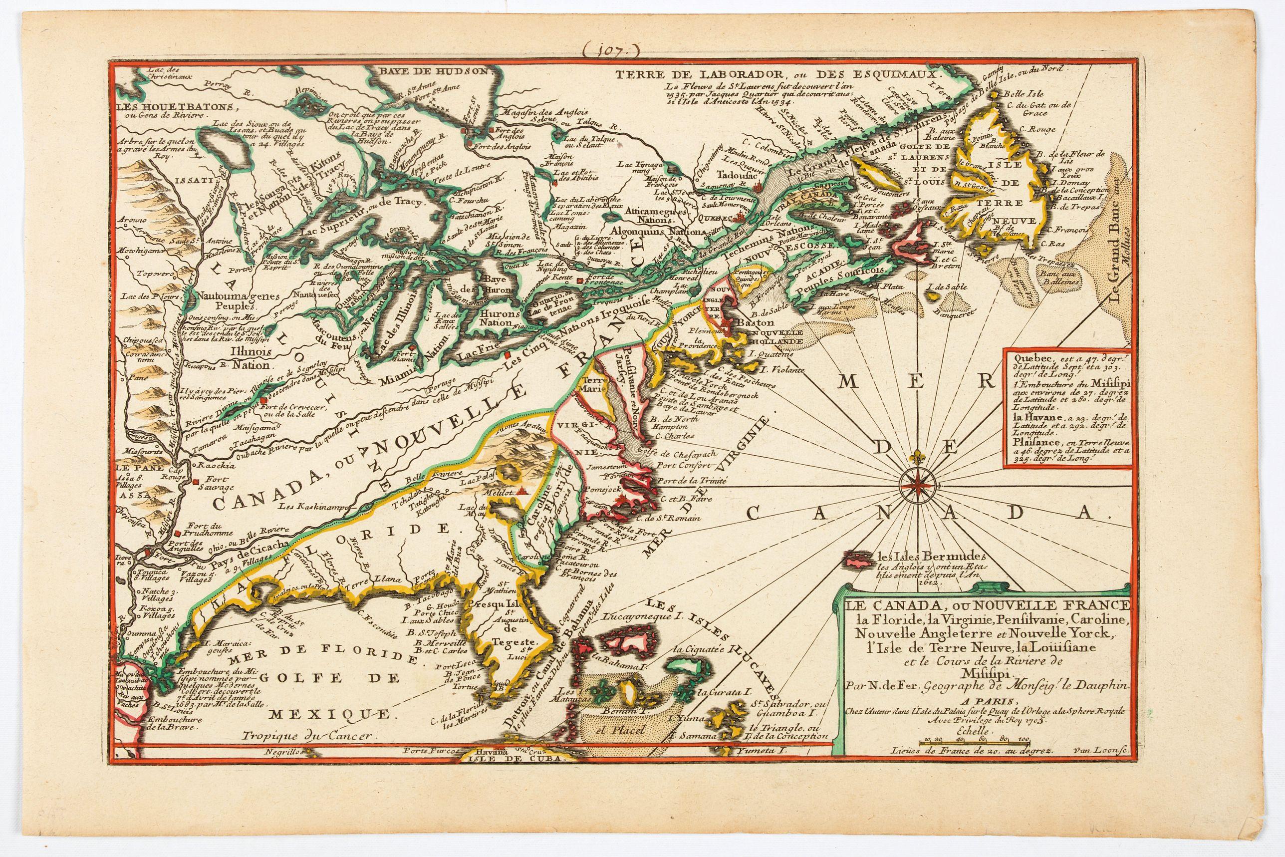 DE FER, N. -  Le Canada, ou Nouvelle France la Florida, la Virginie, Pensilvanie . . .