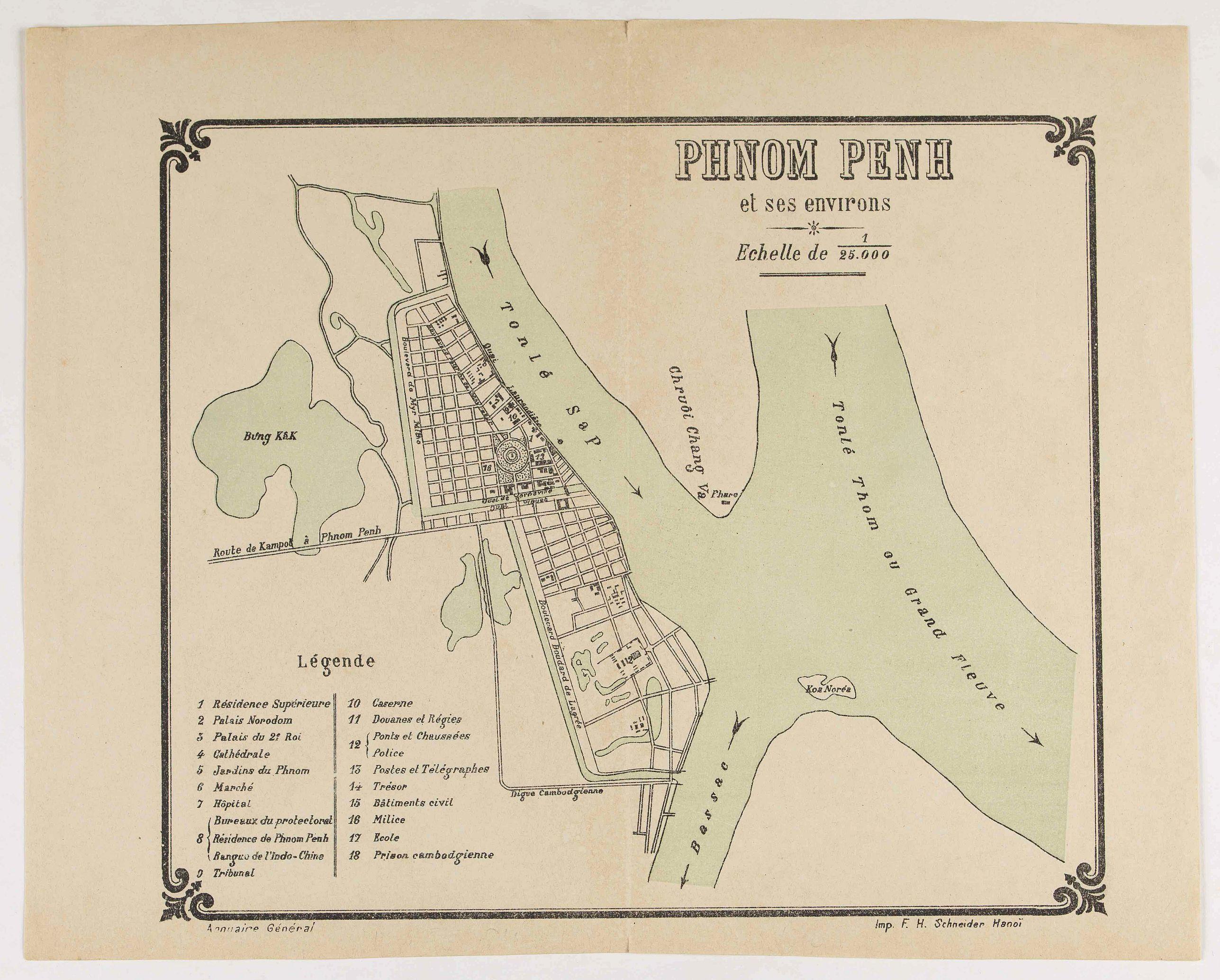 SCHNEIDER, F.H. - Plan Phnom Penh et ses environs.