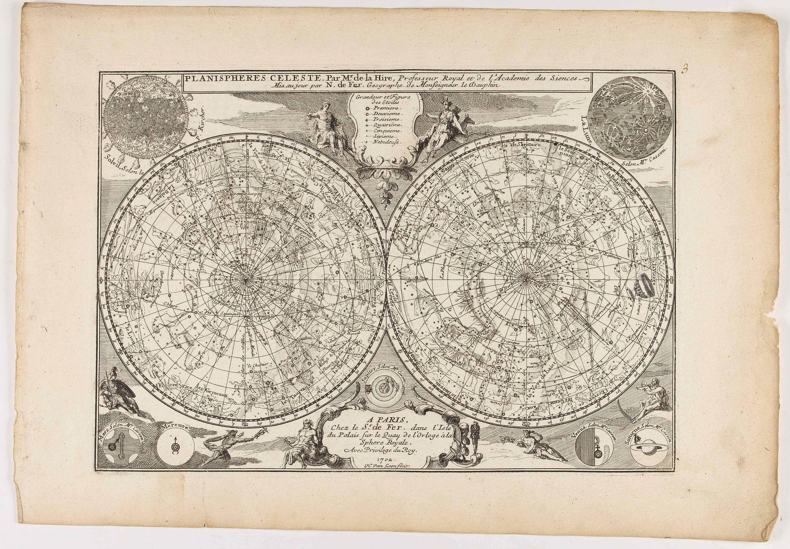 DE FER, N. - Planispheres Celeste . Par Mr. De la Hire..