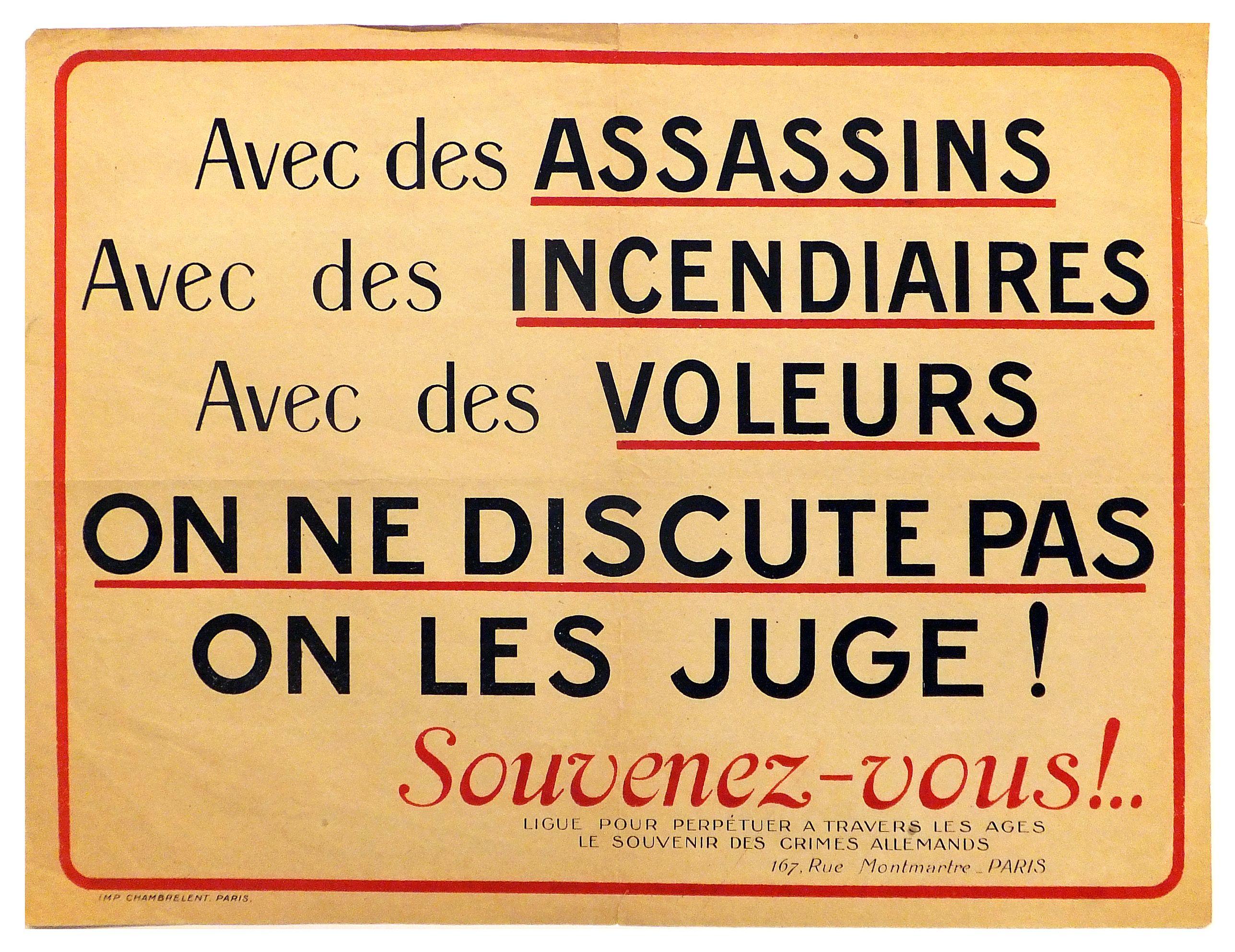 ANONYMOUS -  Avec des assassins, avec des incendiaires, avec des voleurs on ne discute pas on les juge! . . .