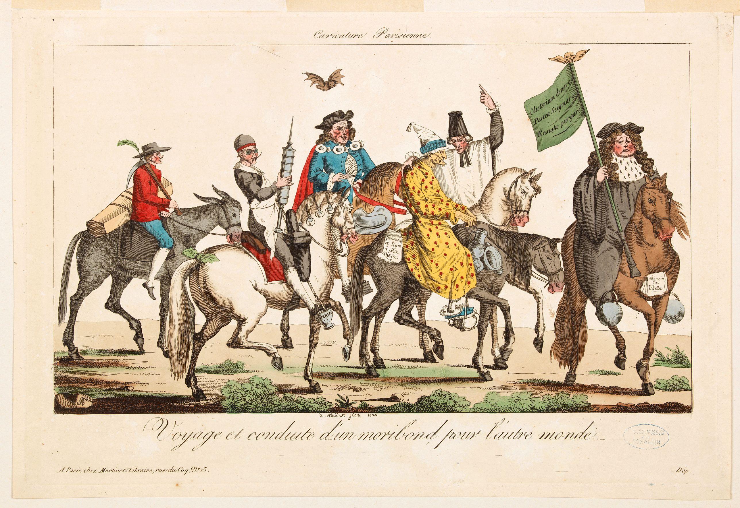 MARTINET. -  Voyage et conduite d'un moribond pour l'autre monde [Caricature Parisienne.]