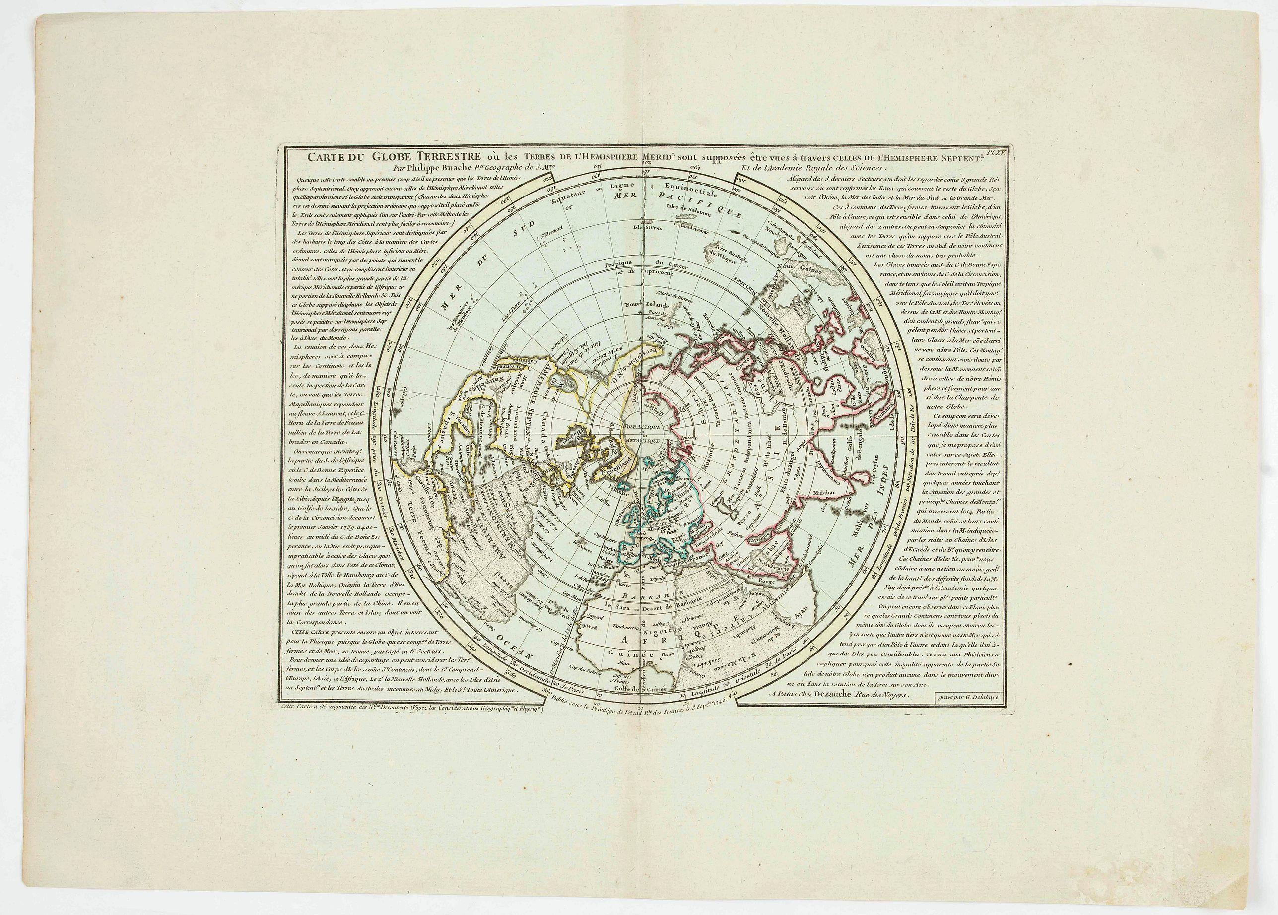 BUACHE, P. - Carte du globe terrestre où les terres de l'hémisphère méridl sont supposées être vues à travers celles de l'hémisphère septentl.