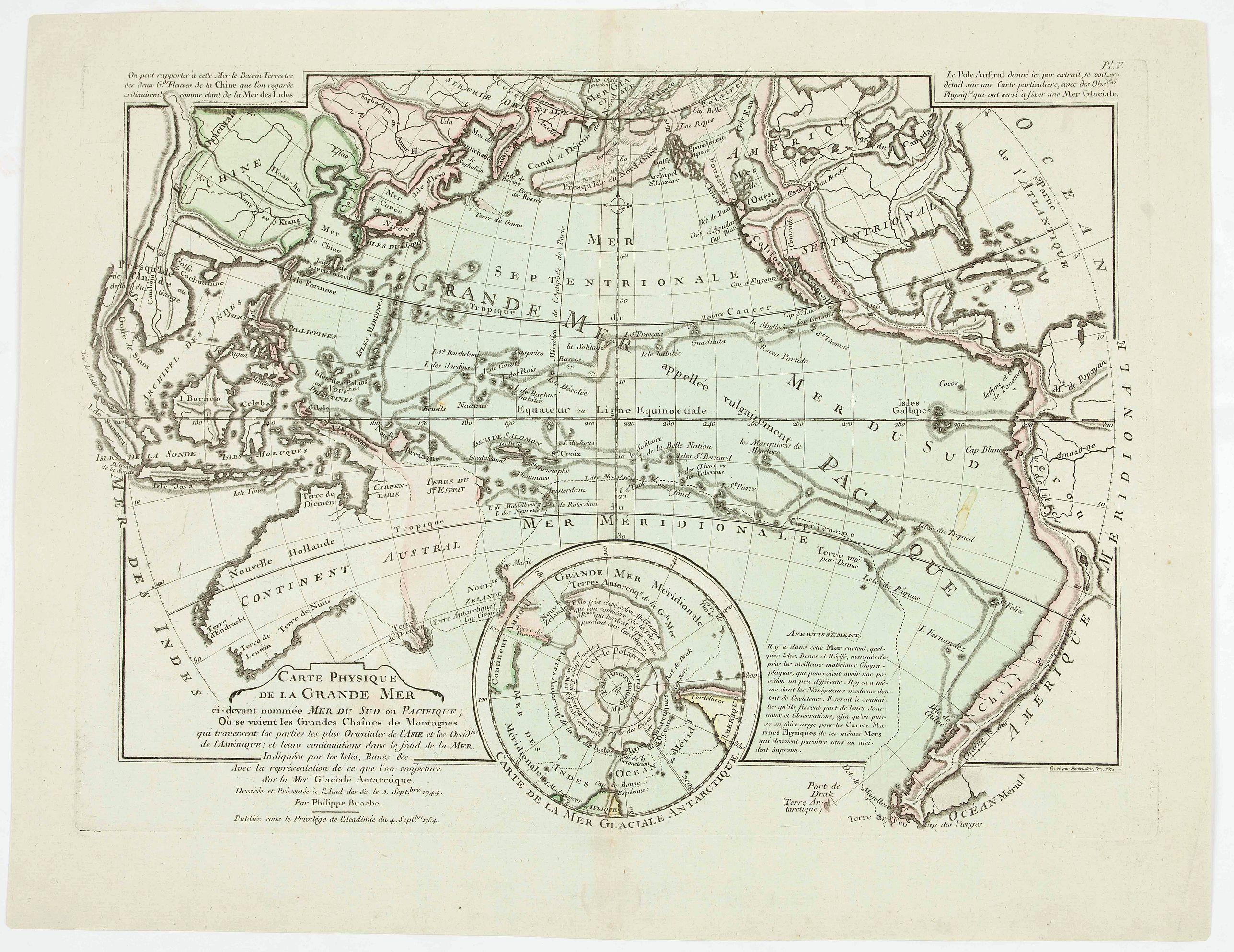 BUACHE, P. - Carte physique de la Grande Mer ci-devant nommée Mer du Sud du Pacifique, qui traverse les parties le splus orientales de l'Asie . . .